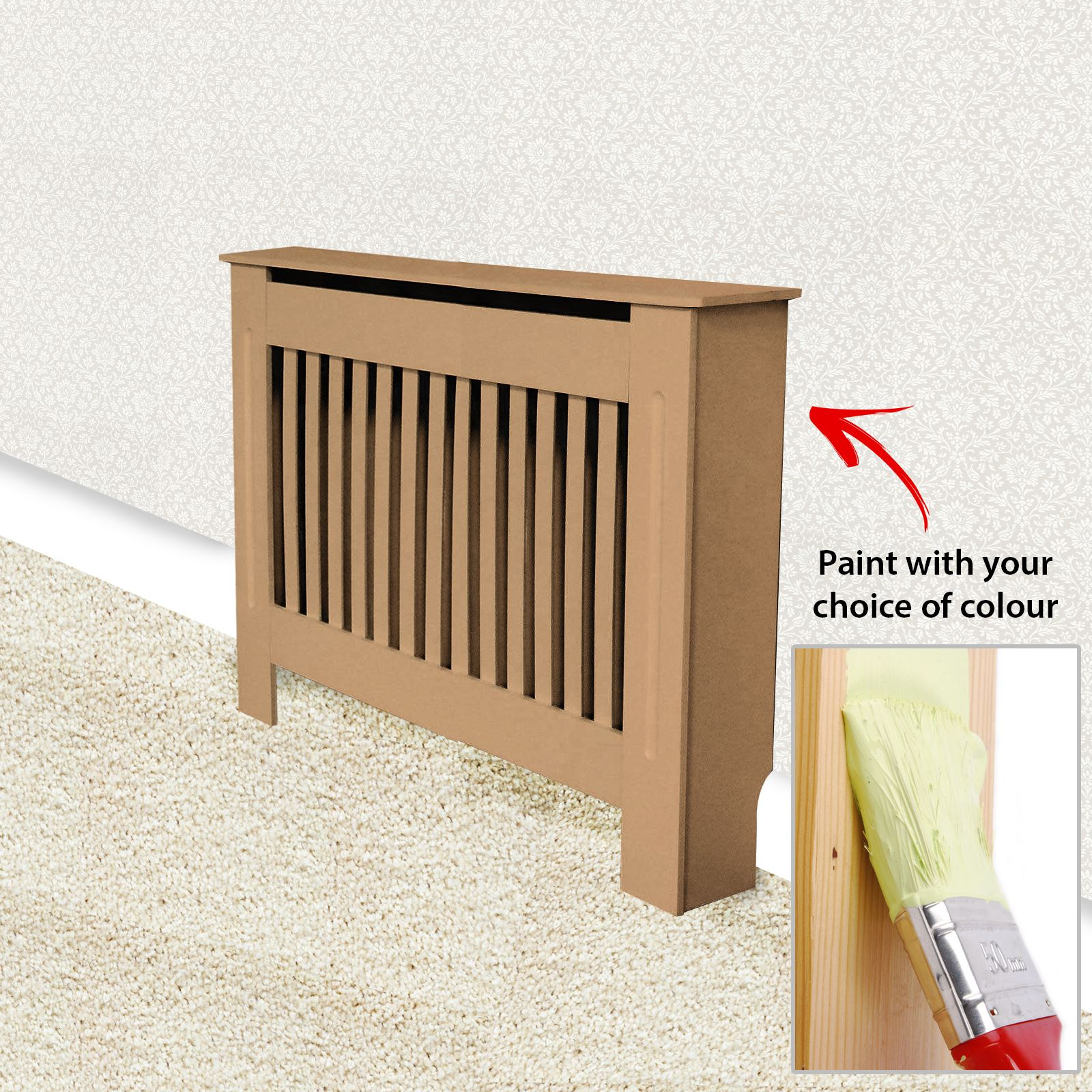 Traditional-Radiator-Cover-Cabinet-Vertical-Slatted-MDF-Wood-Small-Large-Unit thumbnail 14