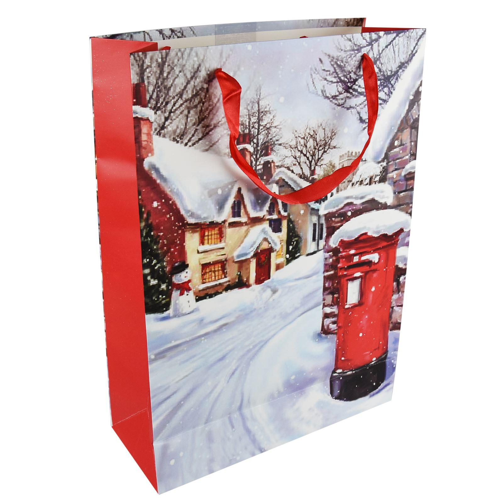 Tradizionale-Regalo-di-Natale-Borse-Regalo-Natale-Inverno-Glitter-Design-Paper-Carrier miniatura 19