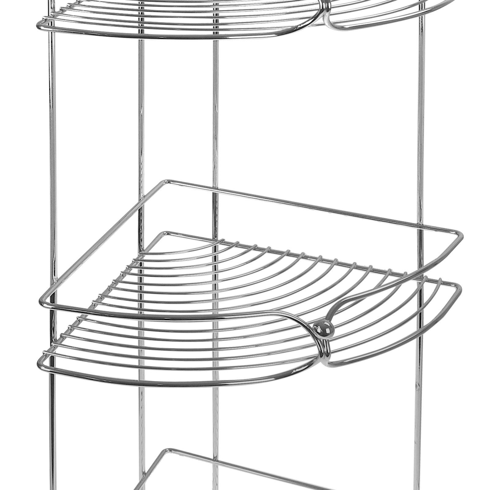 Chrome-Bathroom-Accessory-Shower-Caddy-Corner-Rack-Storage-Trolley-Roll-Holder thumbnail 8