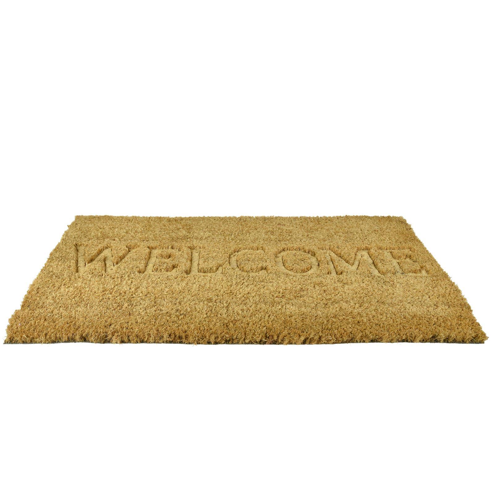 Plain-Non-Slip-Door-Mat-Tough-Natural-Coir-PVC-Back-Welcome-Doormat-40-x-60cm miniatura 42