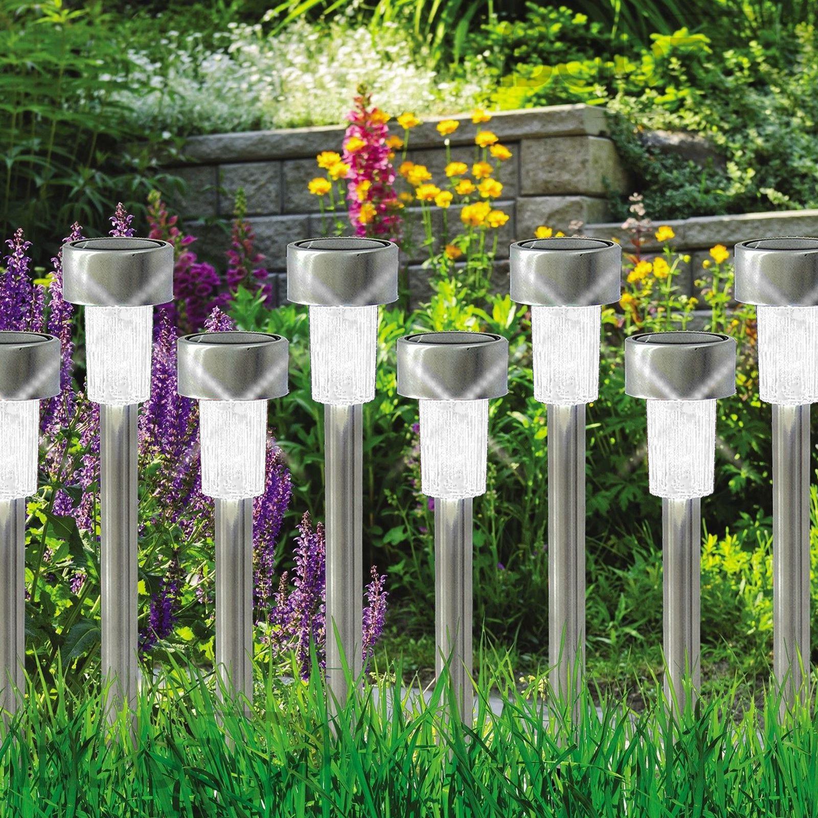 ASAB-10-x-a-energie-solaire-en-acier-inoxydable-jardin-poste-lumieres-DEL-eclairage-exterieur miniature 21