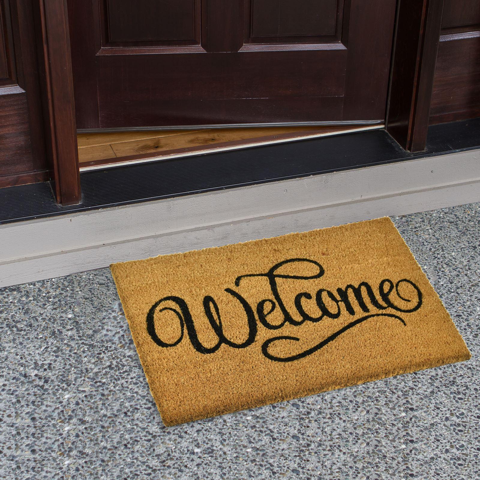 Plain-Non-Slip-Door-Mat-Tough-Natural-Coir-PVC-Back-Welcome-Doormat-40-x-60cm miniatura 111