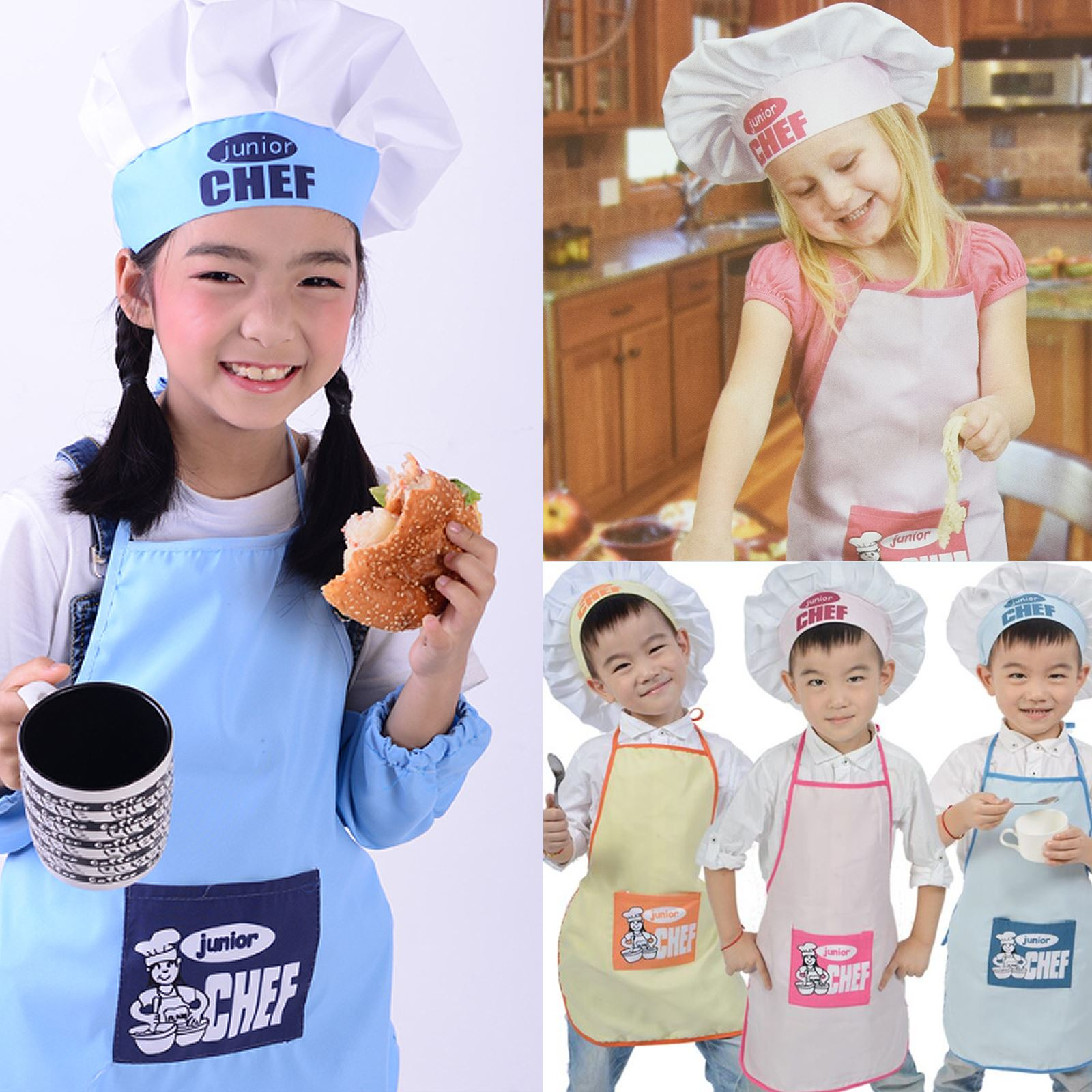 2 Pc Children s Kids Junior Chef Apron Hat Set Kitchen Clothes ... fd1fbe59842e