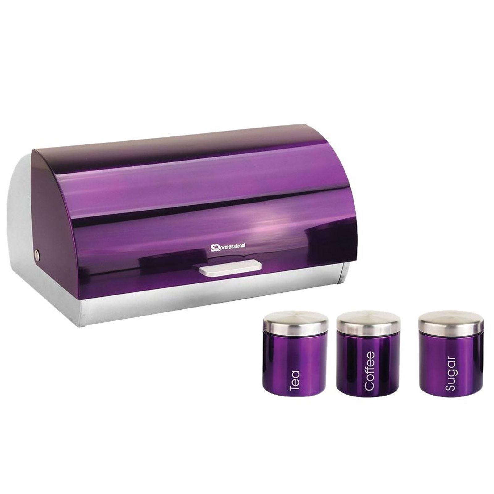 Metallique-Huche-a-Pain-Ouverture-Coulissante-The-Cafe-Sucre-Jar-Canister-ensembles-de-rangement miniature 21