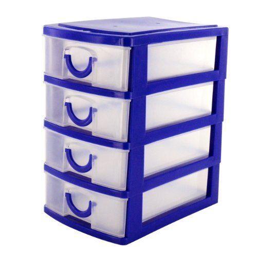 4 Mini Desk Drawer Top Storage Small Plastic fice