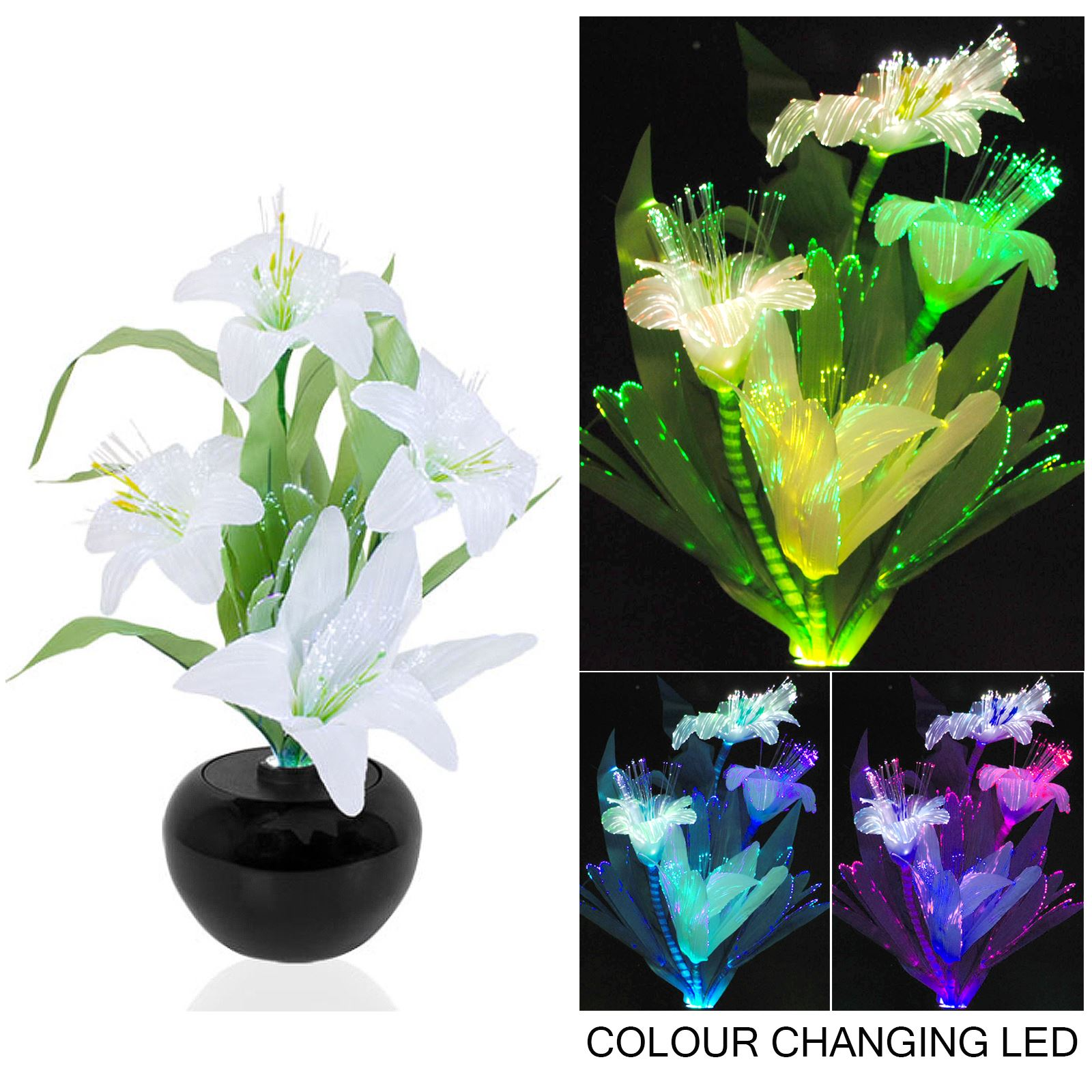 Rgb Colour Changing Flower Vase Mood Light Display Led Fibre Optic Wiring A Colours
