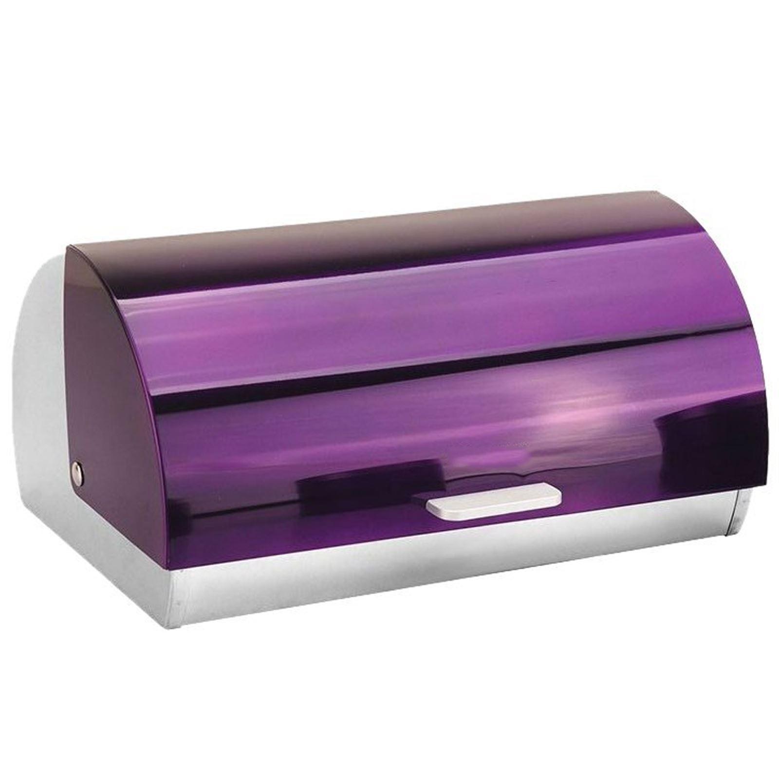 Metallic-Roll-Top-Bread-Bin-Tea-Coffee-Sugar-Jar-Canister-Sets-Kitchen-Storage thumbnail 17