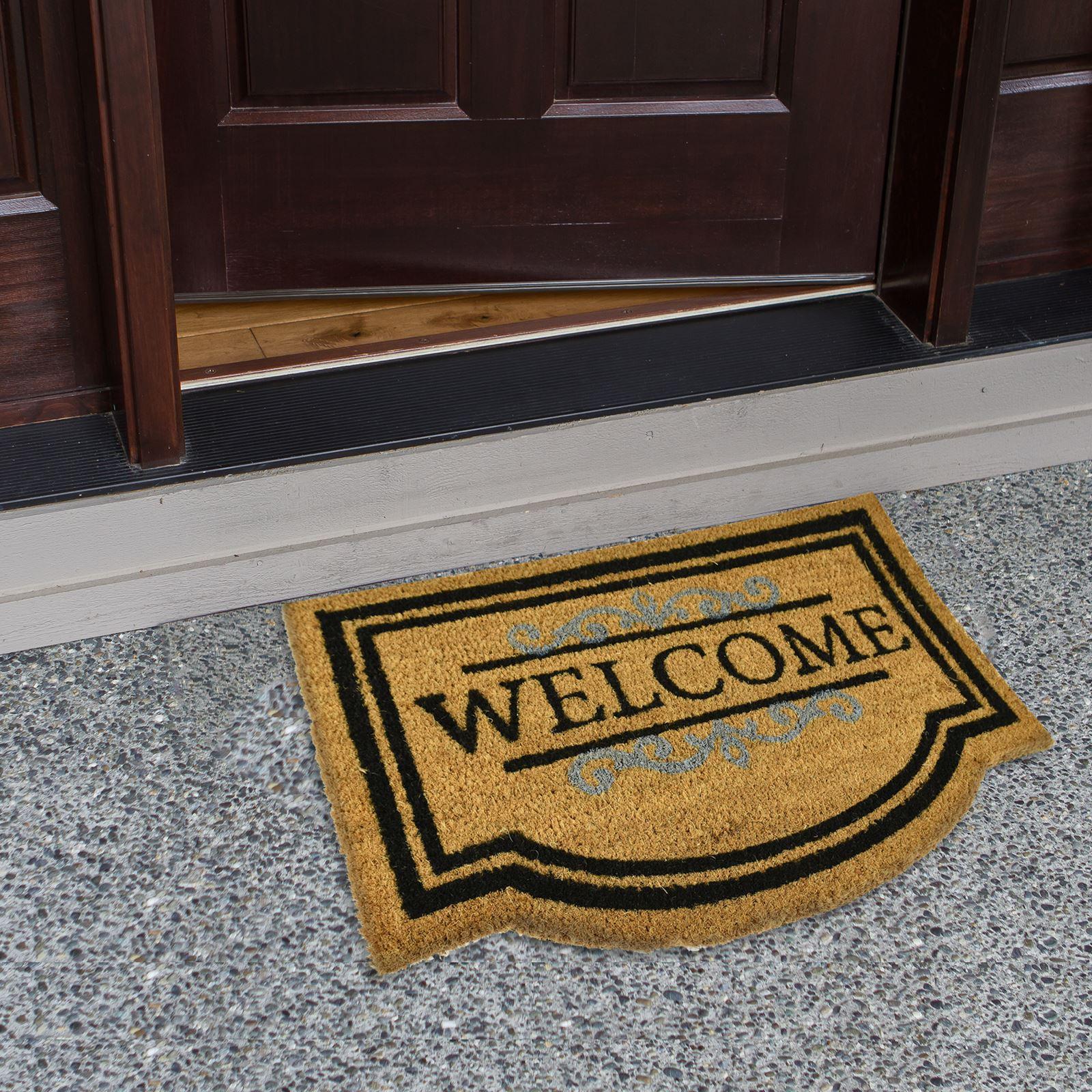 Plain-Non-Slip-Door-Mat-Tough-Natural-Coir-PVC-Back-Welcome-Doormat-40-x-60cm miniatura 116