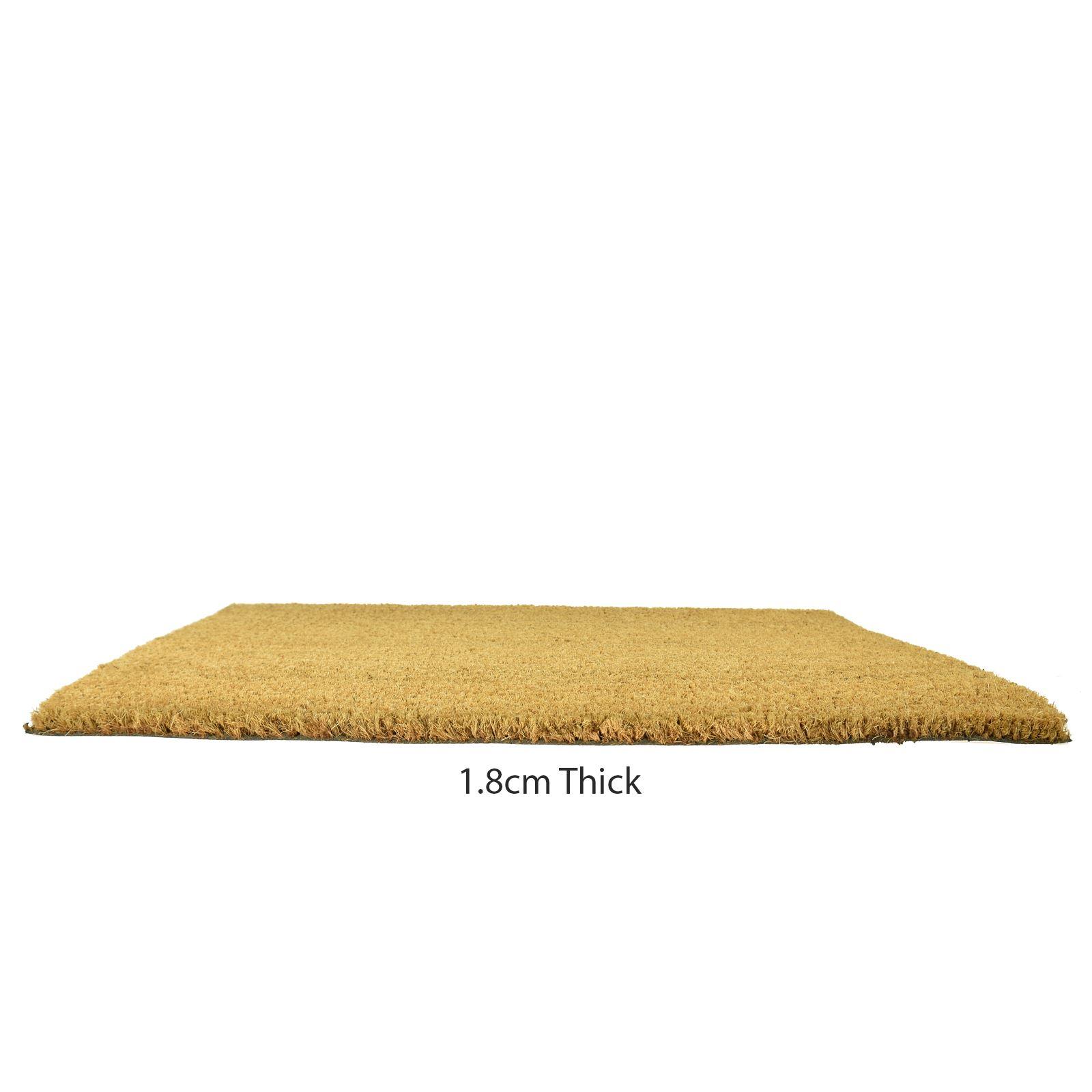 Plain-Non-Slip-Door-Mat-Tough-Natural-Coir-PVC-Back-Welcome-Doormat-40-x-60cm miniatura 98
