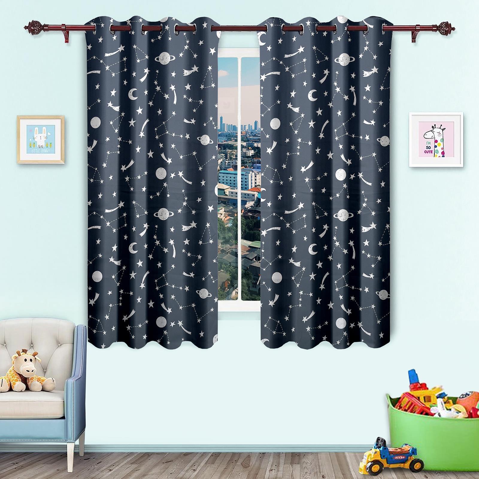 Glow In Dark Curtains Children Kid Bedroom Night Light Eyelet Voile Ebay