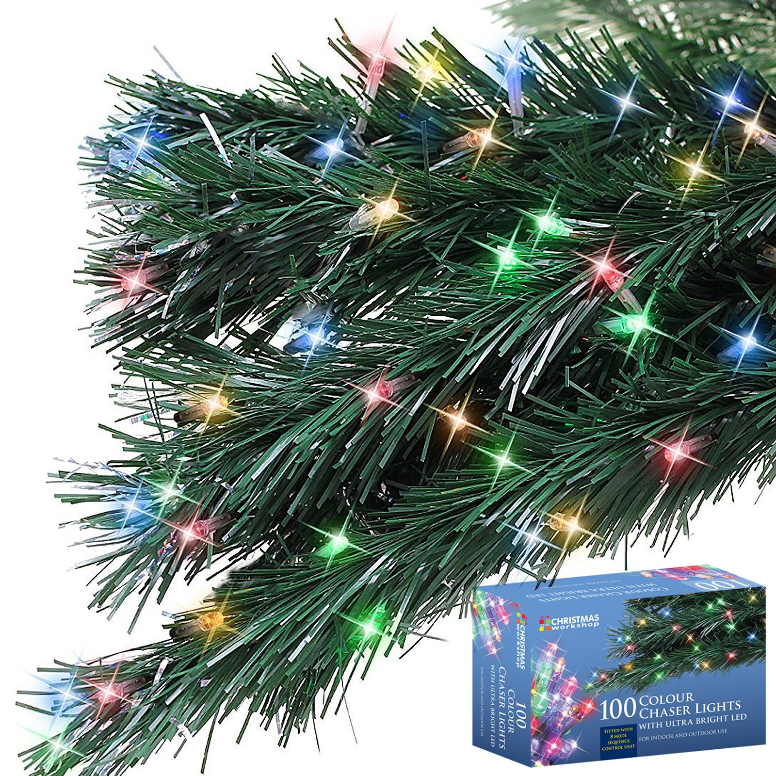 100 LED String Chaser Christmas Lights Flash Festive Tree Window ...