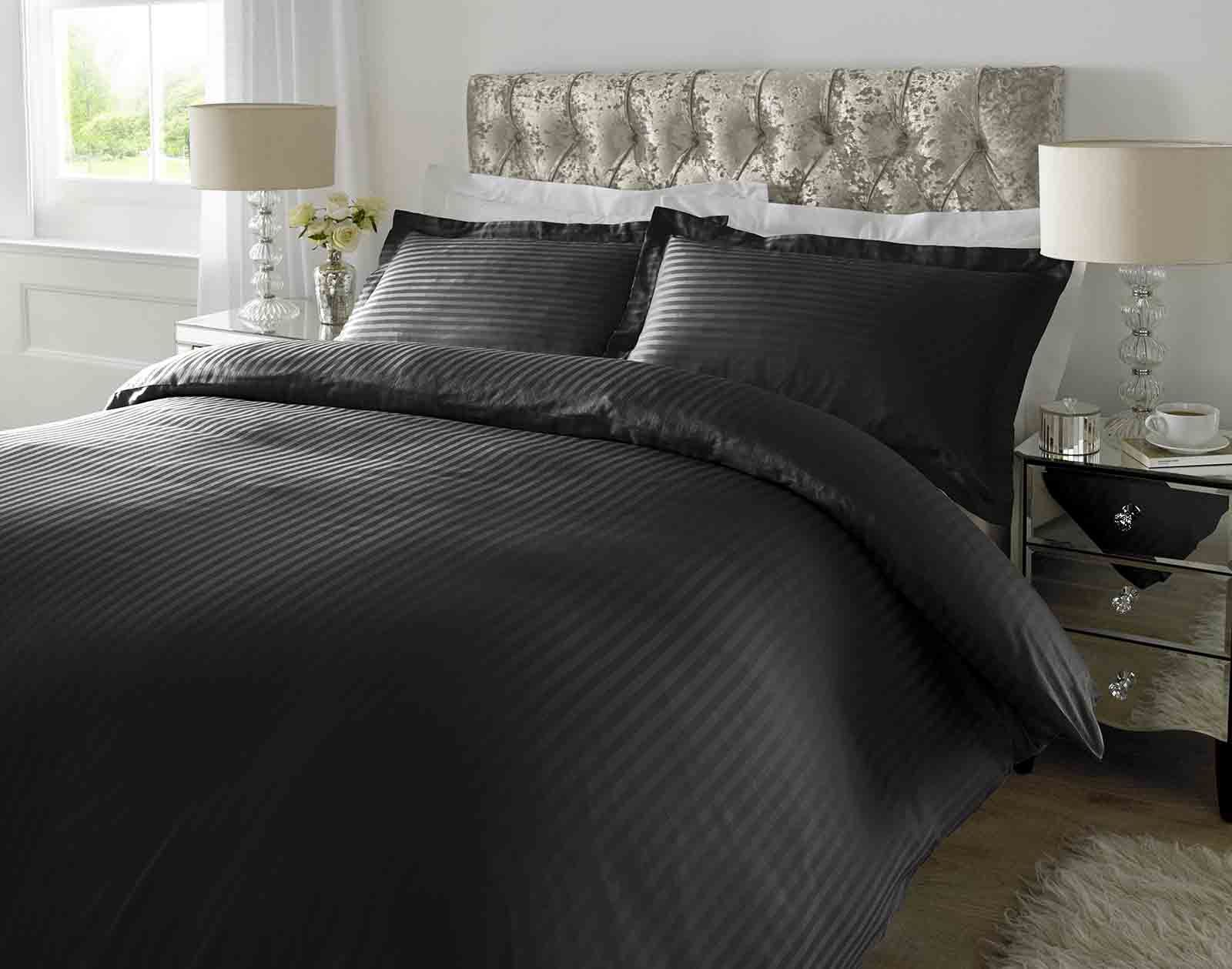 Hotel Quality Luxury Satin Stripe Duvet Cover Single Double King