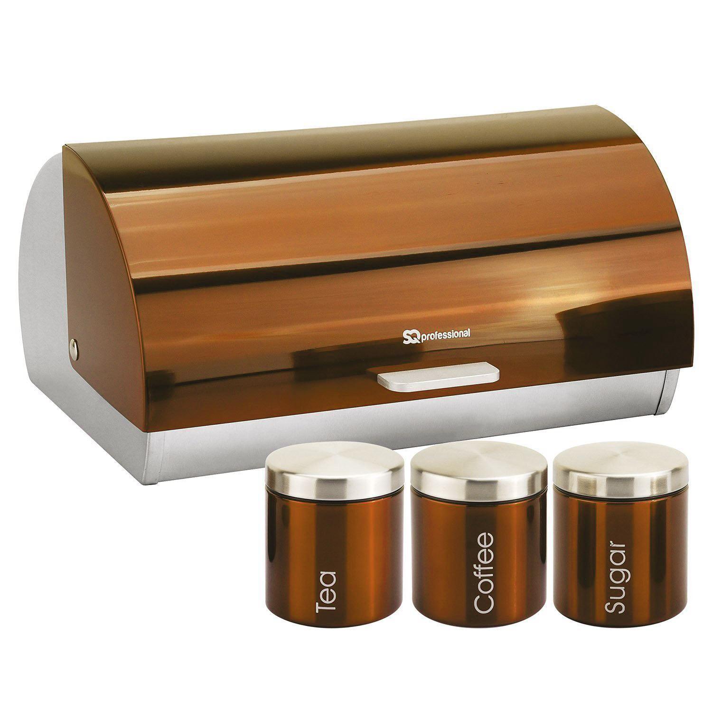 Metallic-Roll-Top-Bread-Bin-Tea-Coffee-Sugar-Jar-Canister-Sets-Kitchen-Storage thumbnail 5