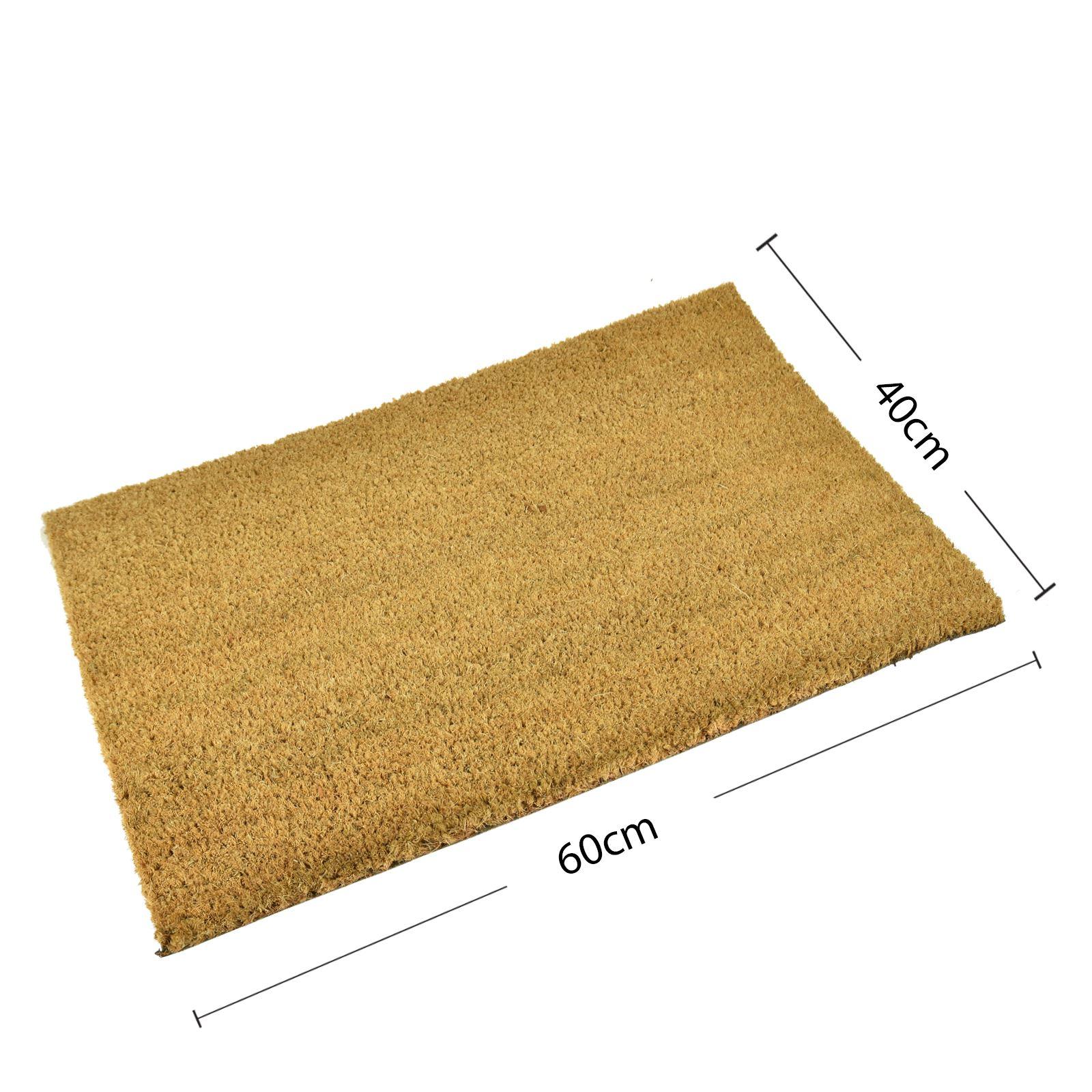 Plain-Non-Slip-Door-Mat-Tough-Natural-Coir-PVC-Back-Welcome-Doormat-40-x-60cm miniatura 96