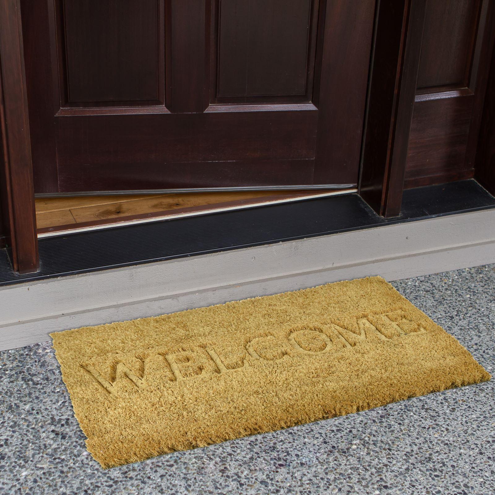 Plain-Non-Slip-Door-Mat-Tough-Natural-Coir-PVC-Back-Welcome-Doormat-40-x-60cm miniatura 41