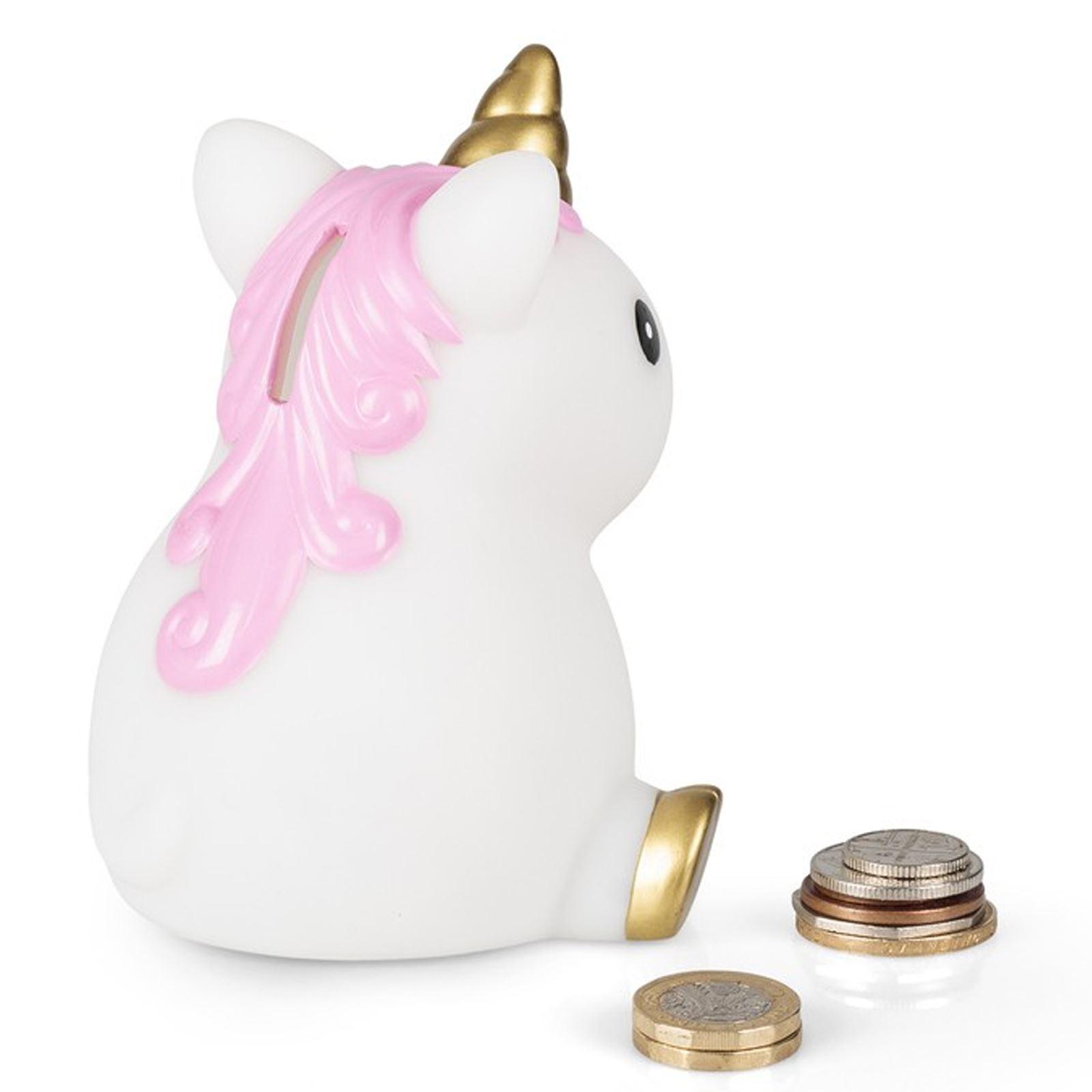 Childrens unicorn shaped money box xmas stocking filler