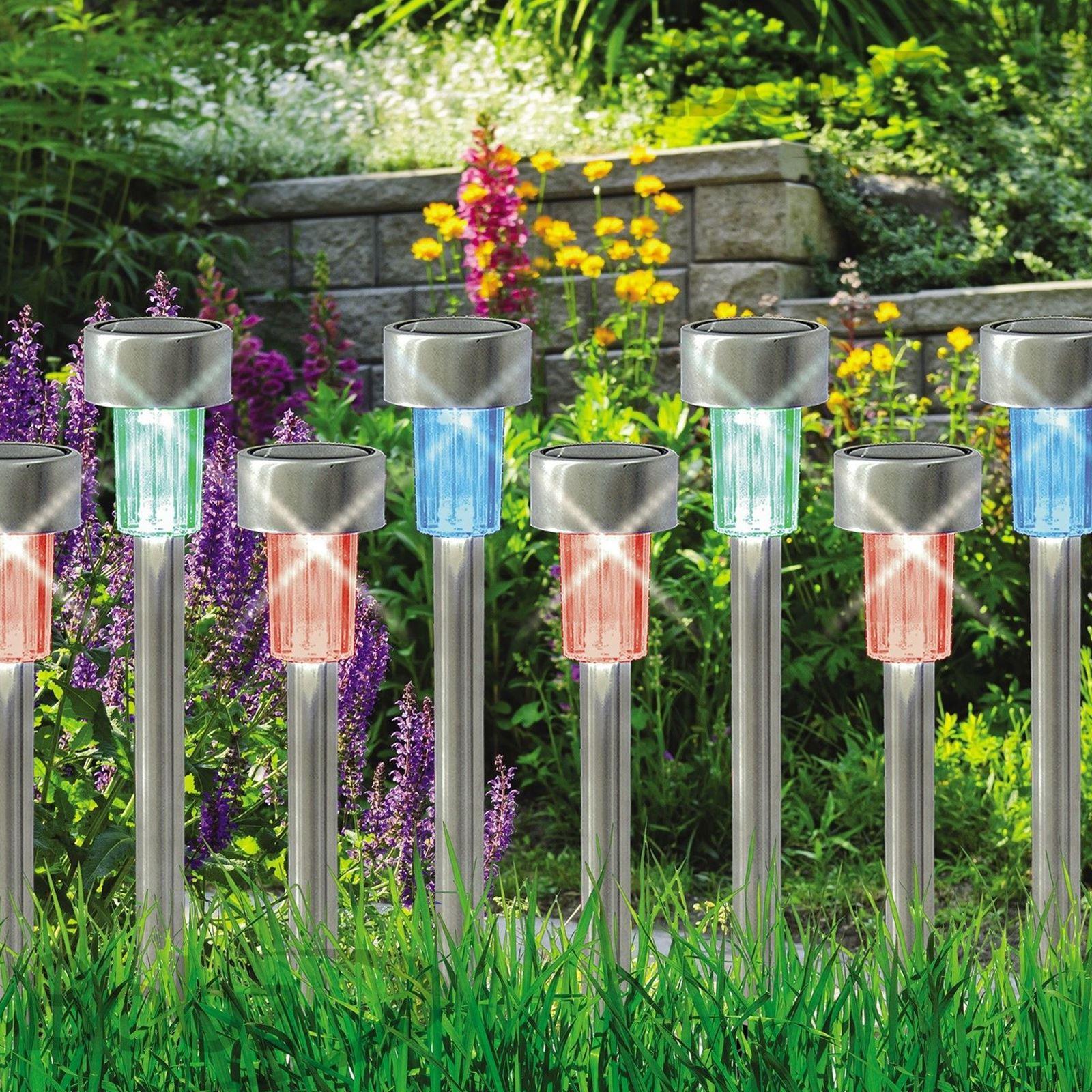 ASAB-10-x-a-energie-solaire-en-acier-inoxydable-jardin-poste-lumieres-DEL-eclairage-exterieur miniature 4