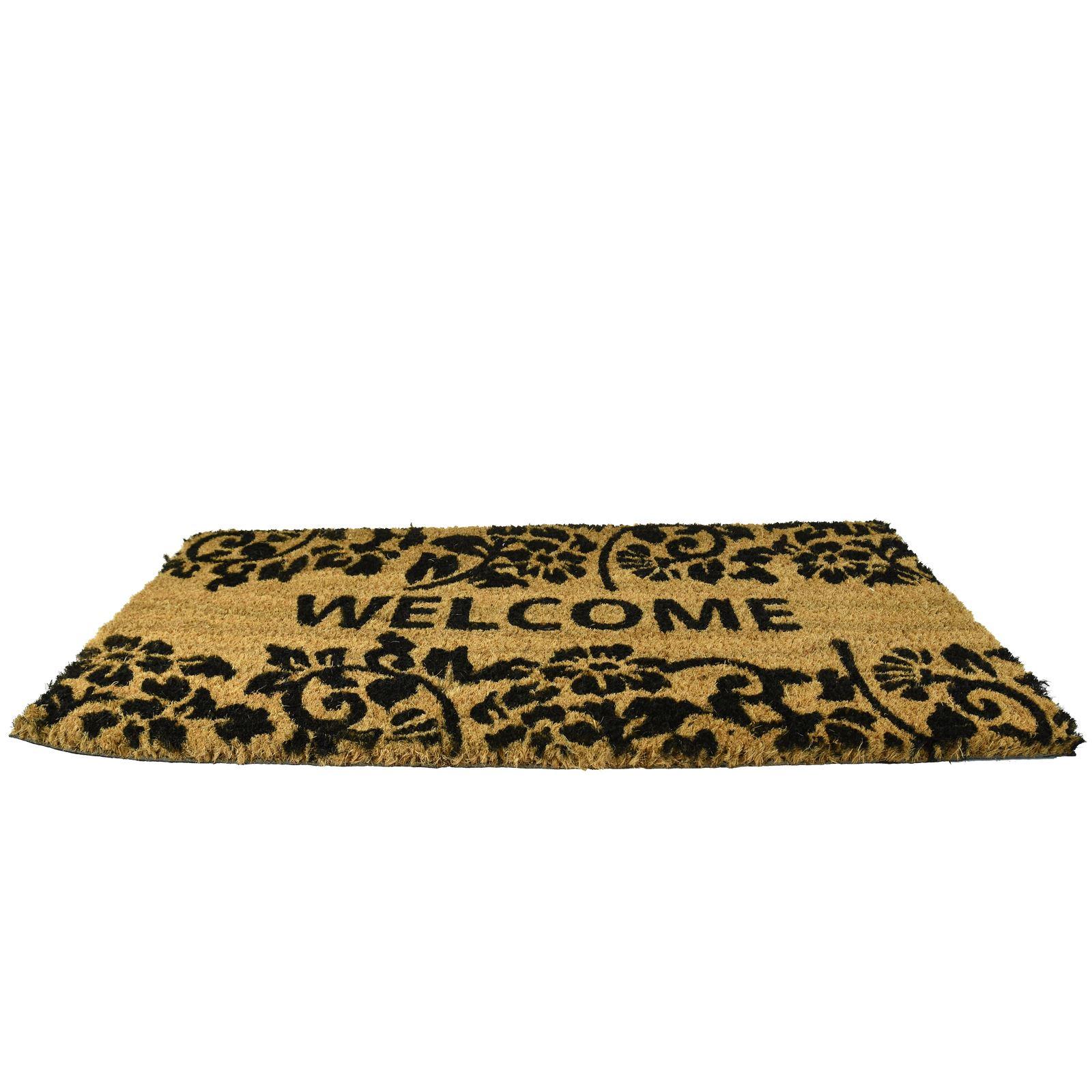 Plain-Non-Slip-Door-Mat-Tough-Natural-Coir-PVC-Back-Welcome-Doormat-40-x-60cm miniatura 18