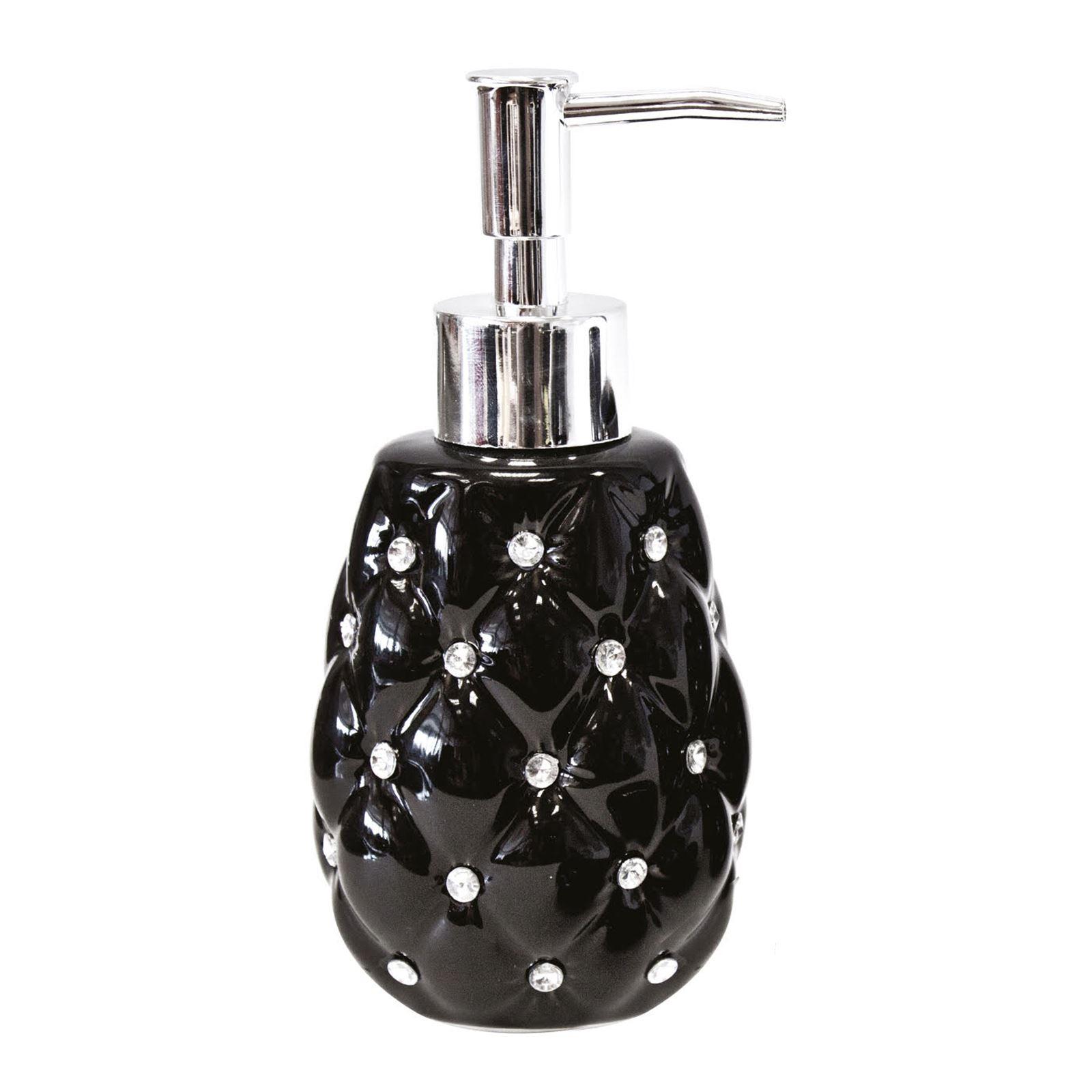 4pc Ceramic Diamante Bathroom Accessory Set Porcelain Bath Toilet ...