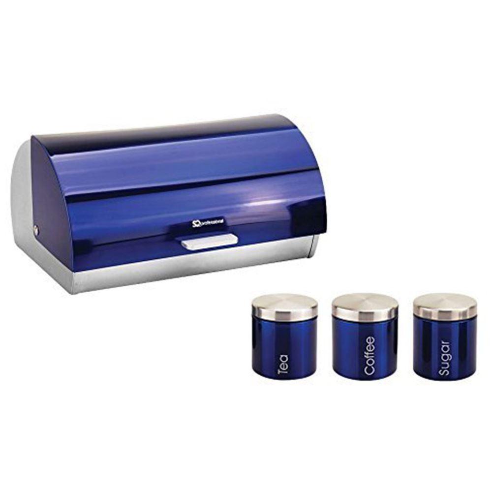 Metallic-Roll-Top-Bread-Bin-Tea-Coffee-Sugar-Jar-Canister-Sets-Kitchen-Storage thumbnail 3