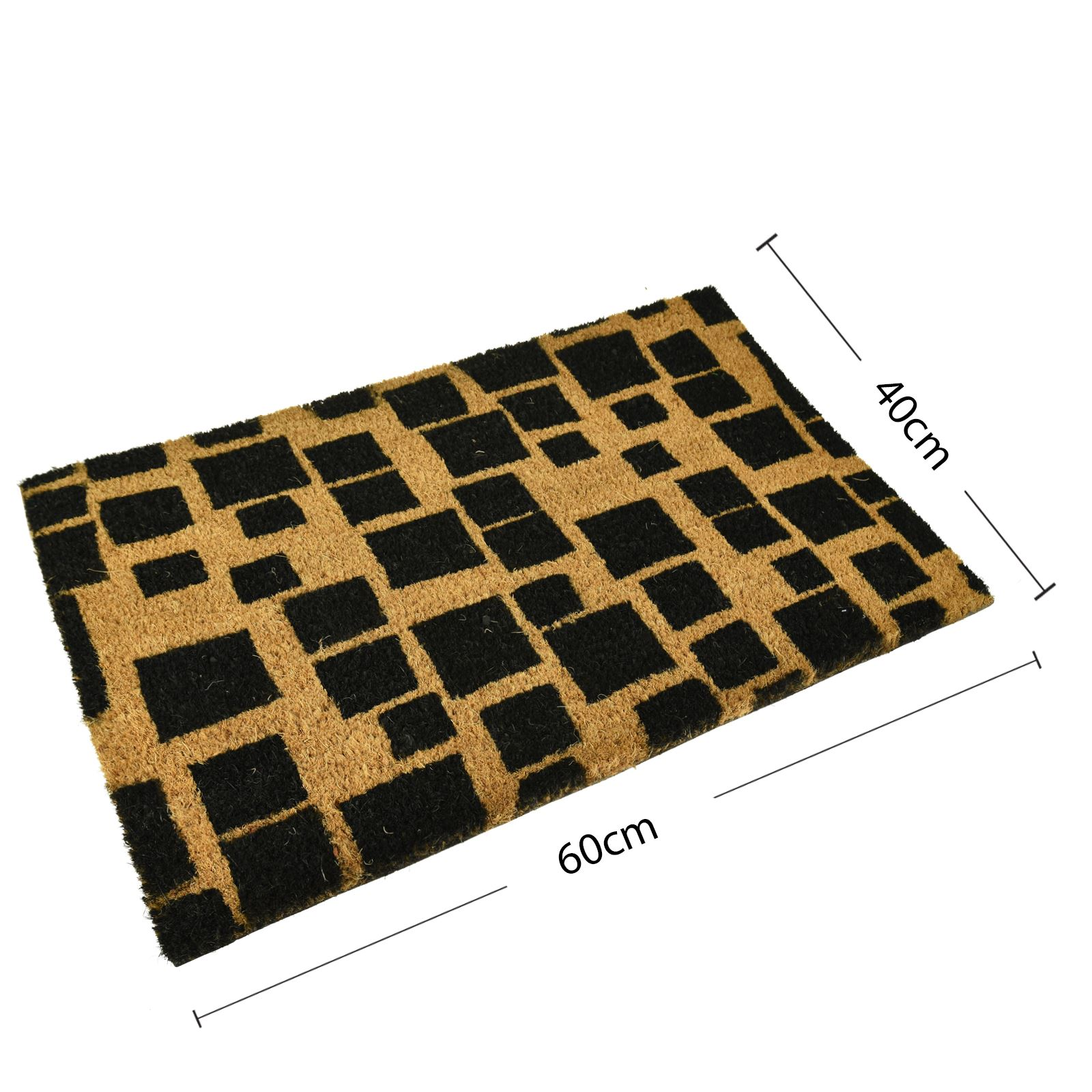 Plain-Non-Slip-Door-Mat-Tough-Natural-Coir-PVC-Back-Welcome-Doormat-40-x-60cm miniatura 21