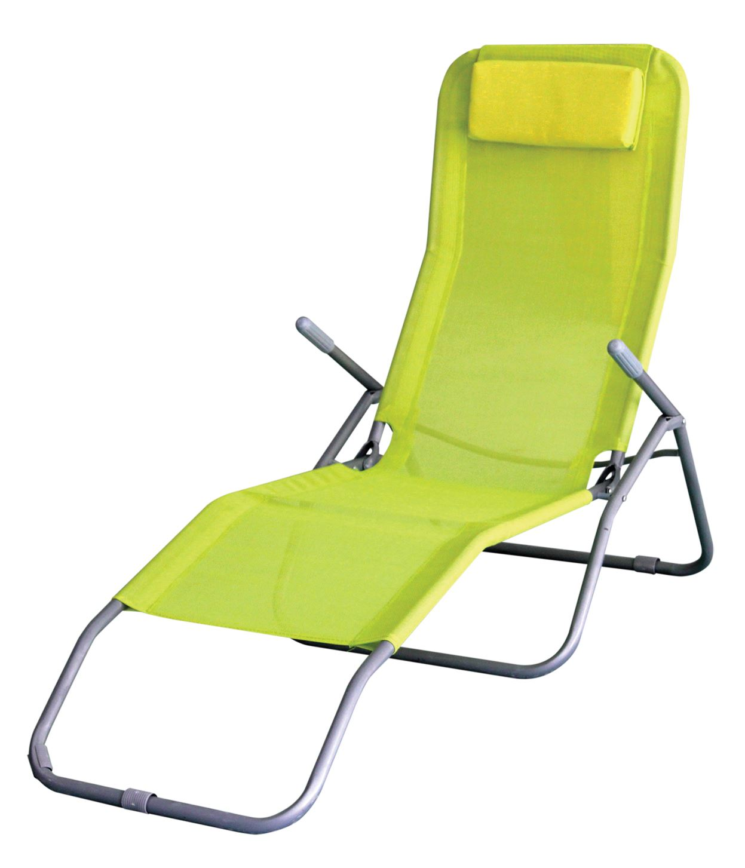 Folding Sun Lounger Recliner Chair Bed Armrest Garden