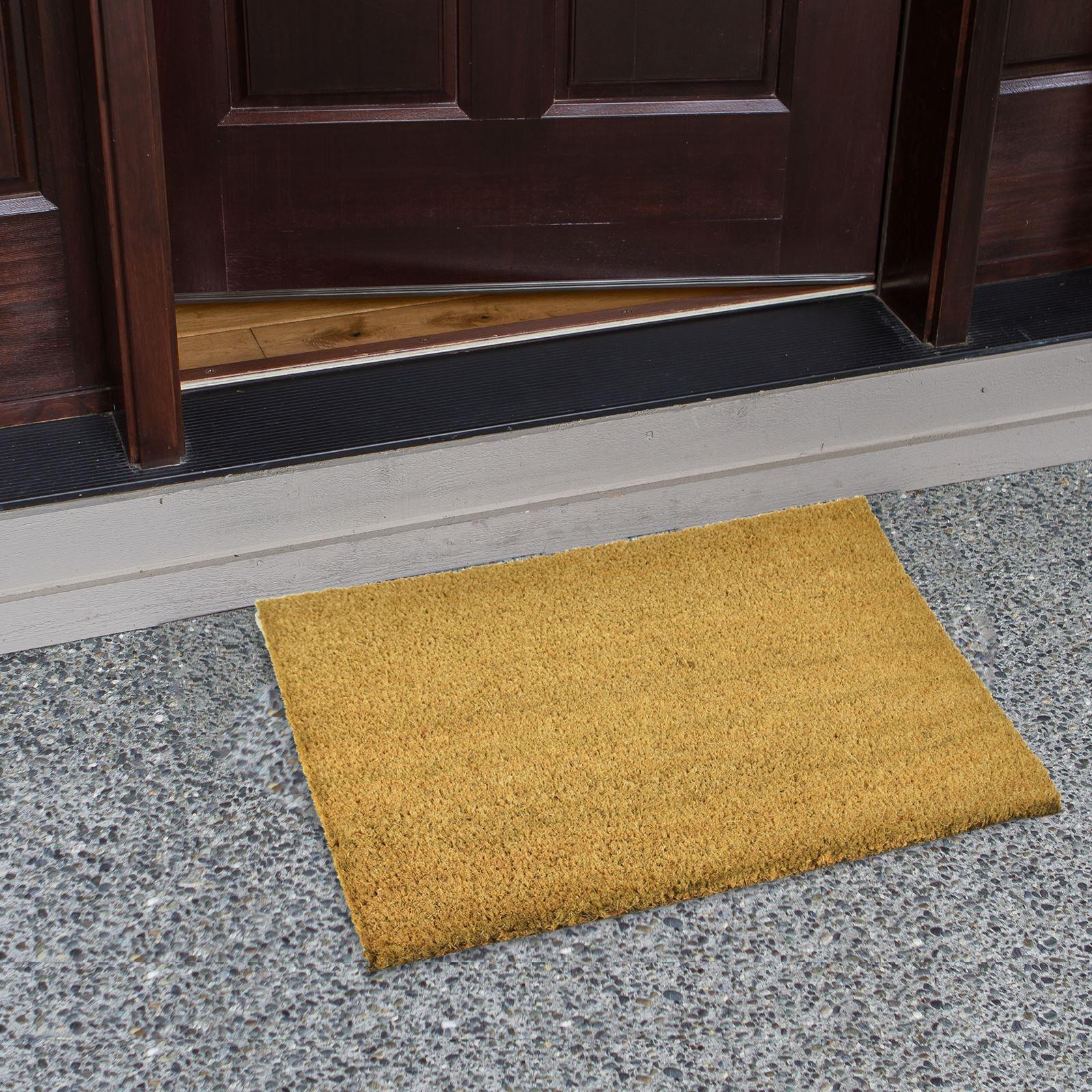 Plain-Non-Slip-Door-Mat-Tough-Natural-Coir-PVC-Back-Welcome-Doormat-40-x-60cm miniatura 95