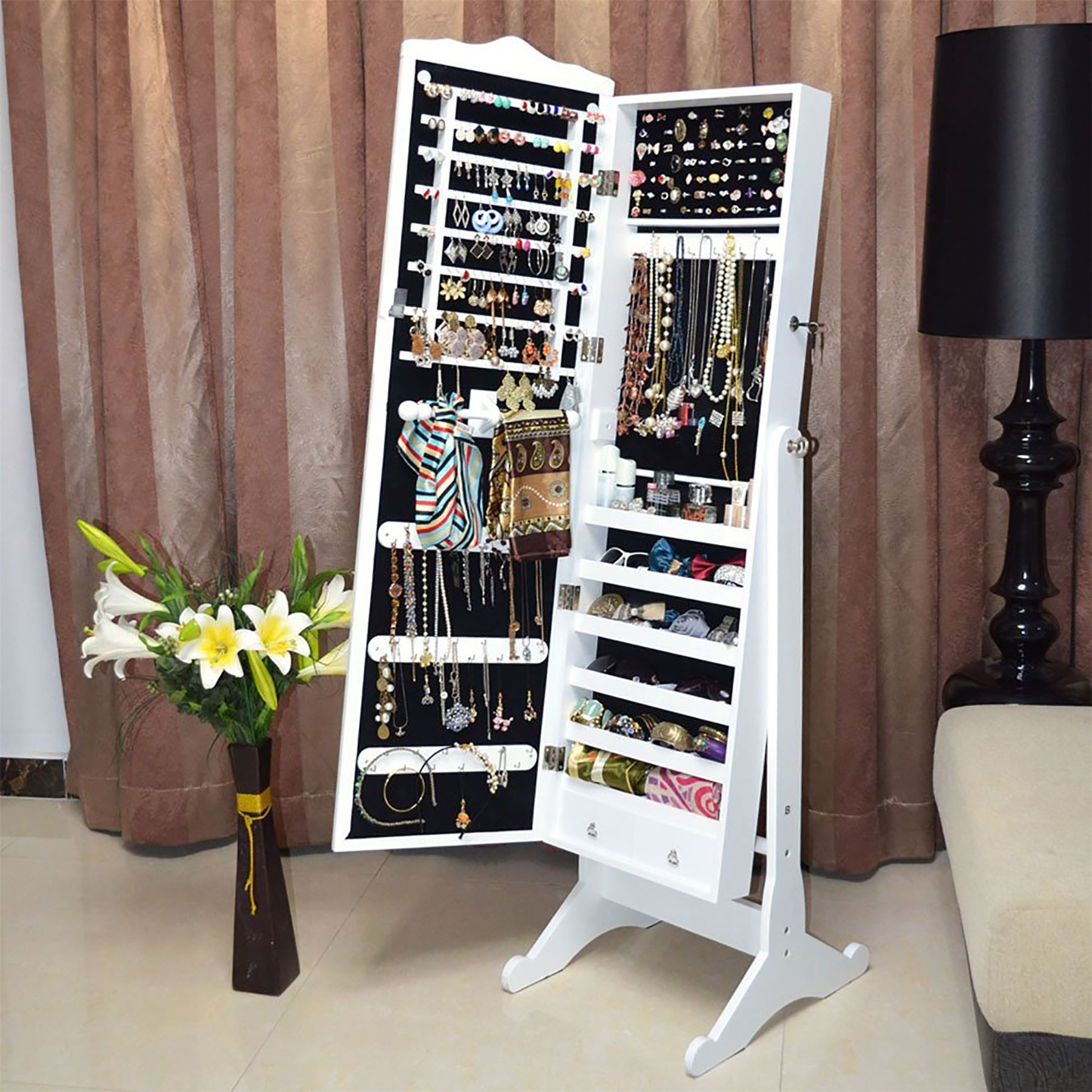 Floor Standing Jewelry Jewellery Storage Box Cabinet