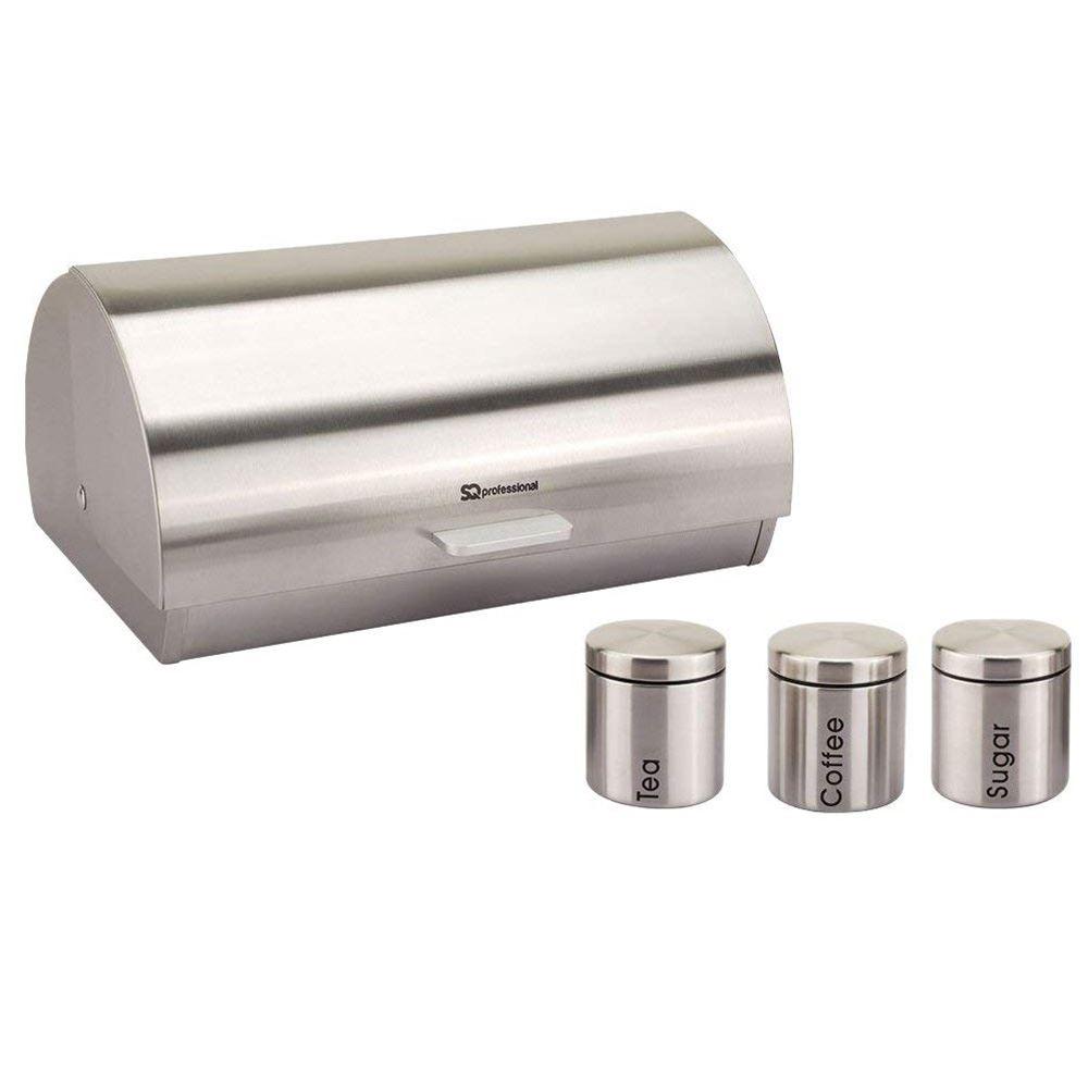 Metallique-Huche-a-Pain-Ouverture-Coulissante-The-Cafe-Sucre-Jar-Canister-ensembles-de-rangement miniature 30