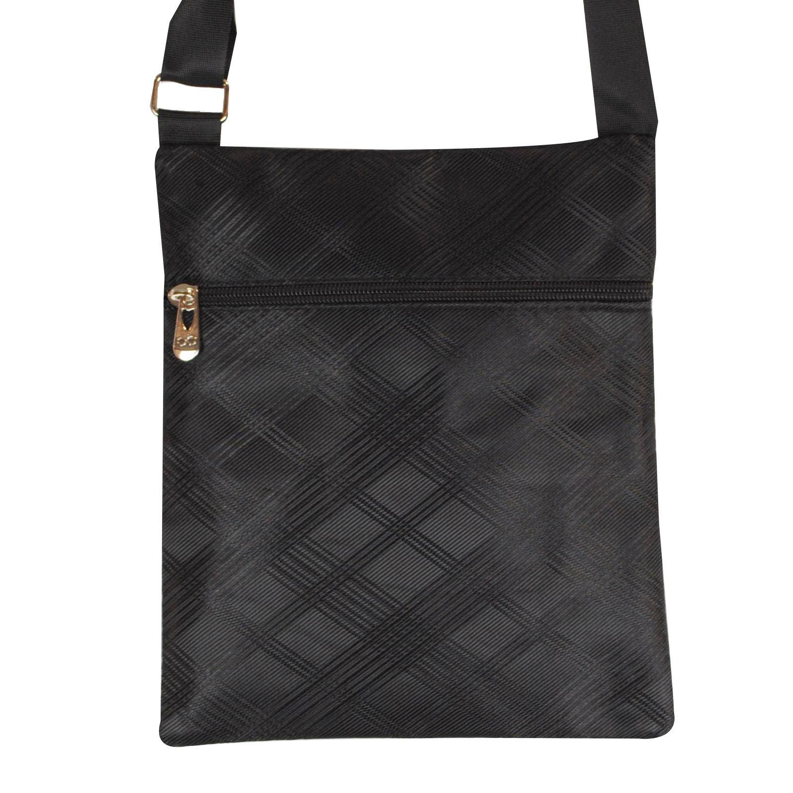 Mens check Pattern Shoulder Small Bag Organiser Zip Up Pockets Adjustable Strap
