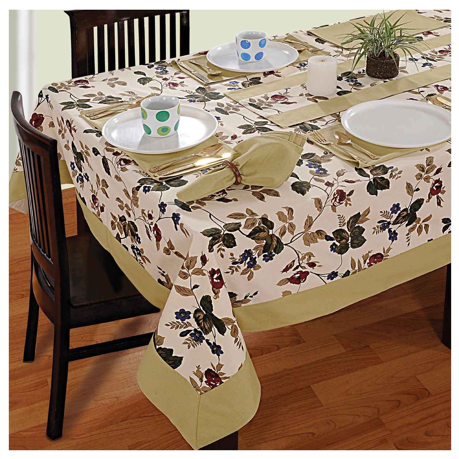 Dinner Party Table Linen Set 6 Seater Kitchen Dining Tablecloth