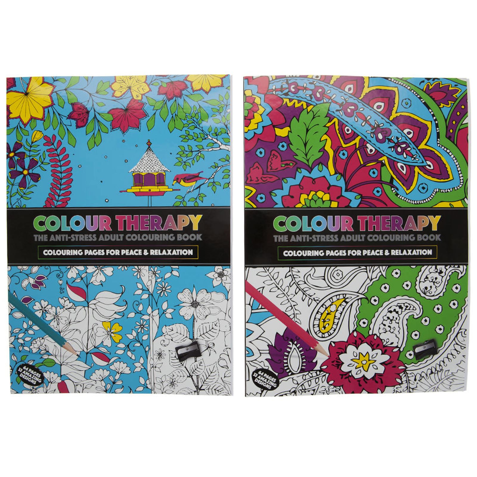 New Anti Stress Colour Therapy Colouring Books Pencils Set