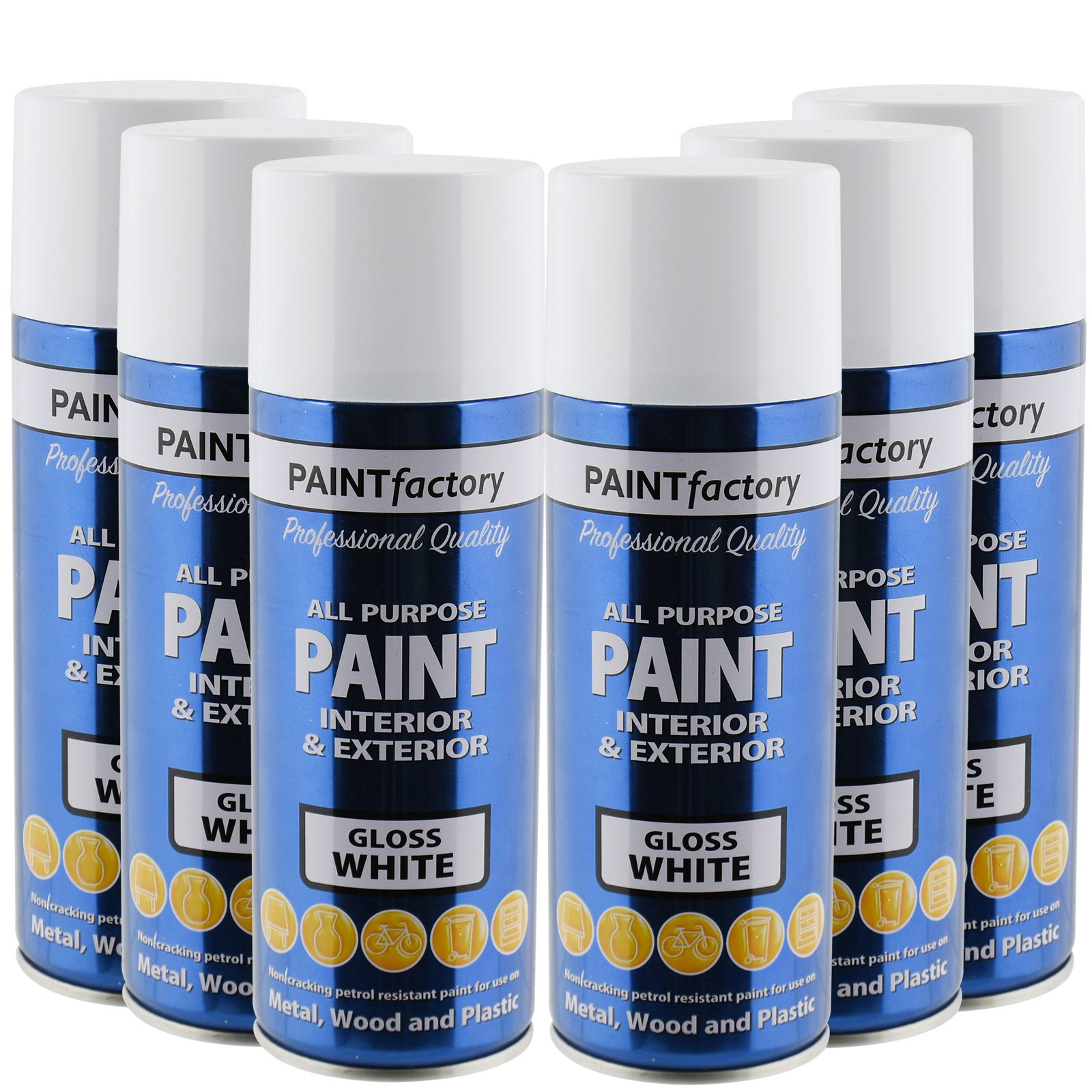 All Purpose White Gloss Spray Paint 400ml Aerosol Dry Metal Interior Exterior Ebay