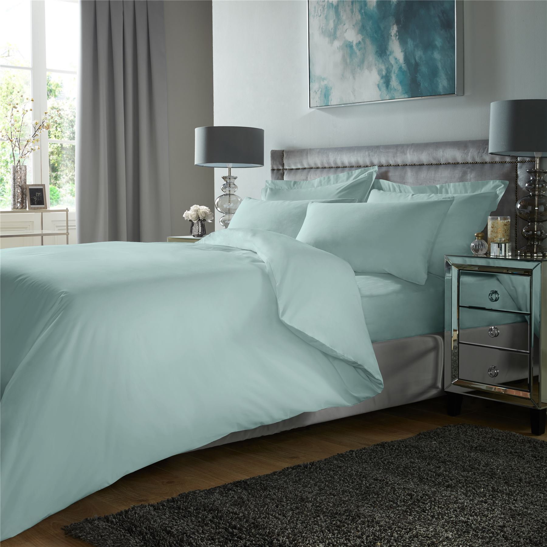 De-Lujo-400TC-conjunto-de-funda-de-edredon-100-Algodon-Egipcio-ropa-de-cama-funda-de-almohada-tenida miniatura 5