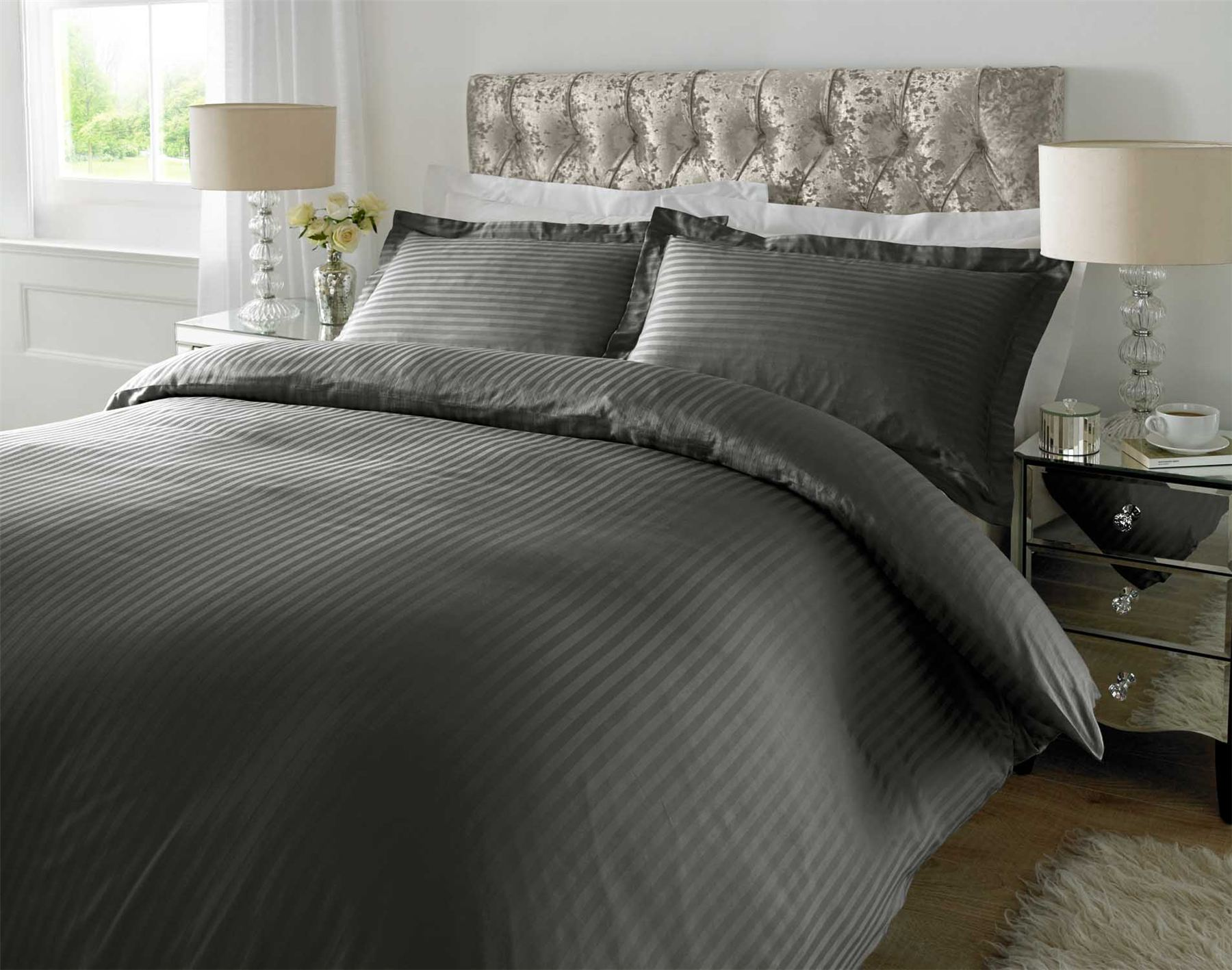 Hotel Quality Luxury Satin Stripe Duvet Cover Single