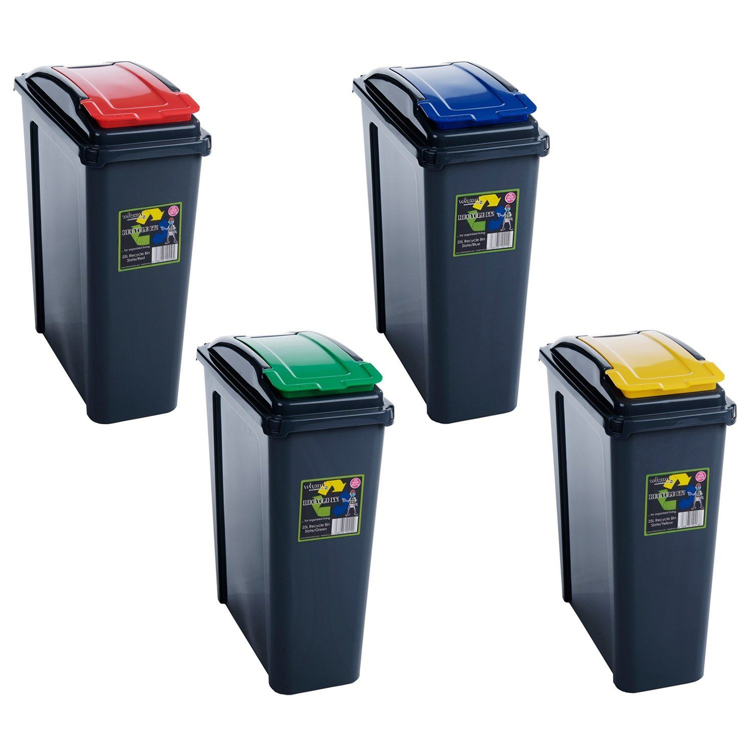 25L 50L Plastic Recycle Recycling Bin Lid Kitchen Rubbish Dustbin ...