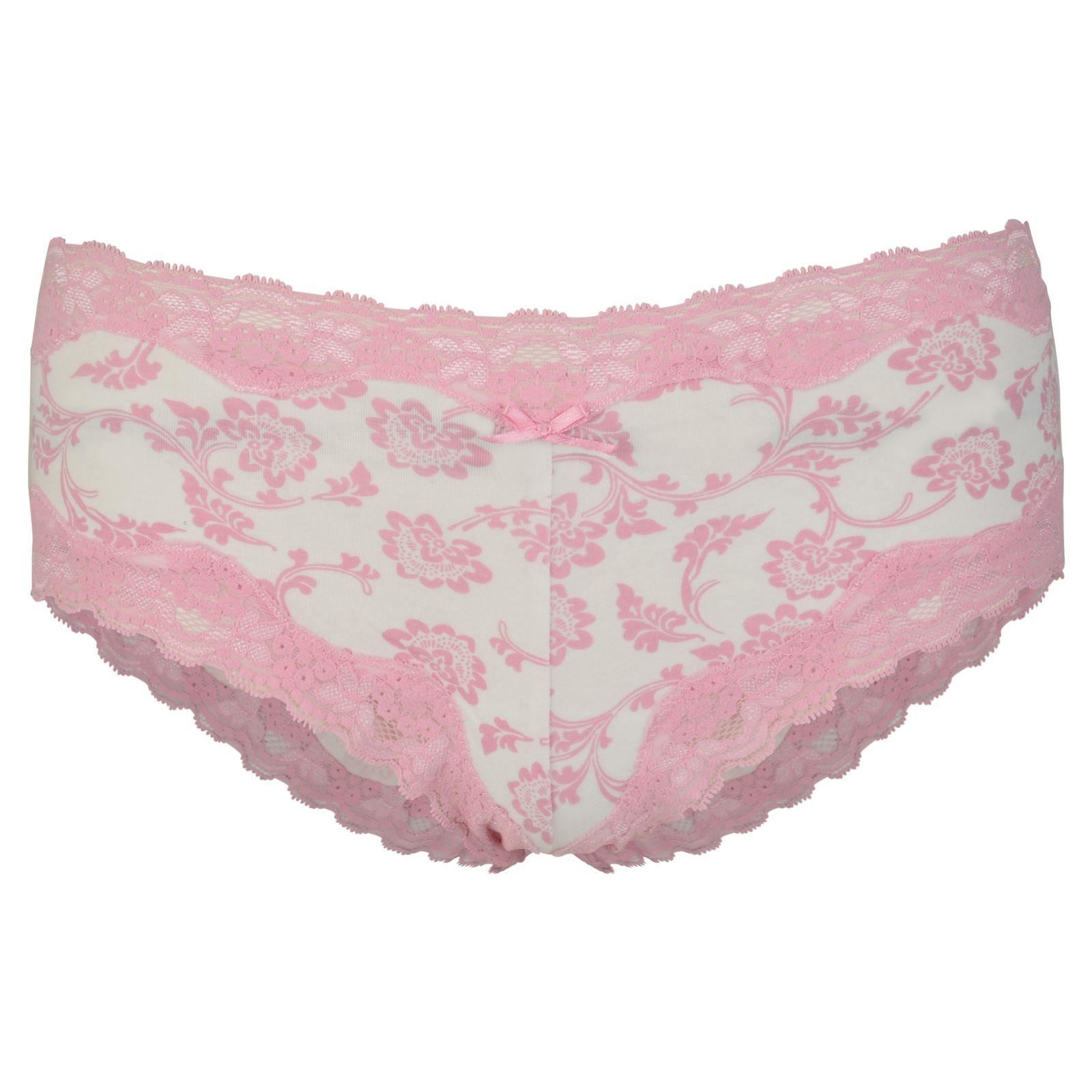 Ladies Lace Floral French Knickers Boy Shorts Crotch Gusset  M Size 12-14