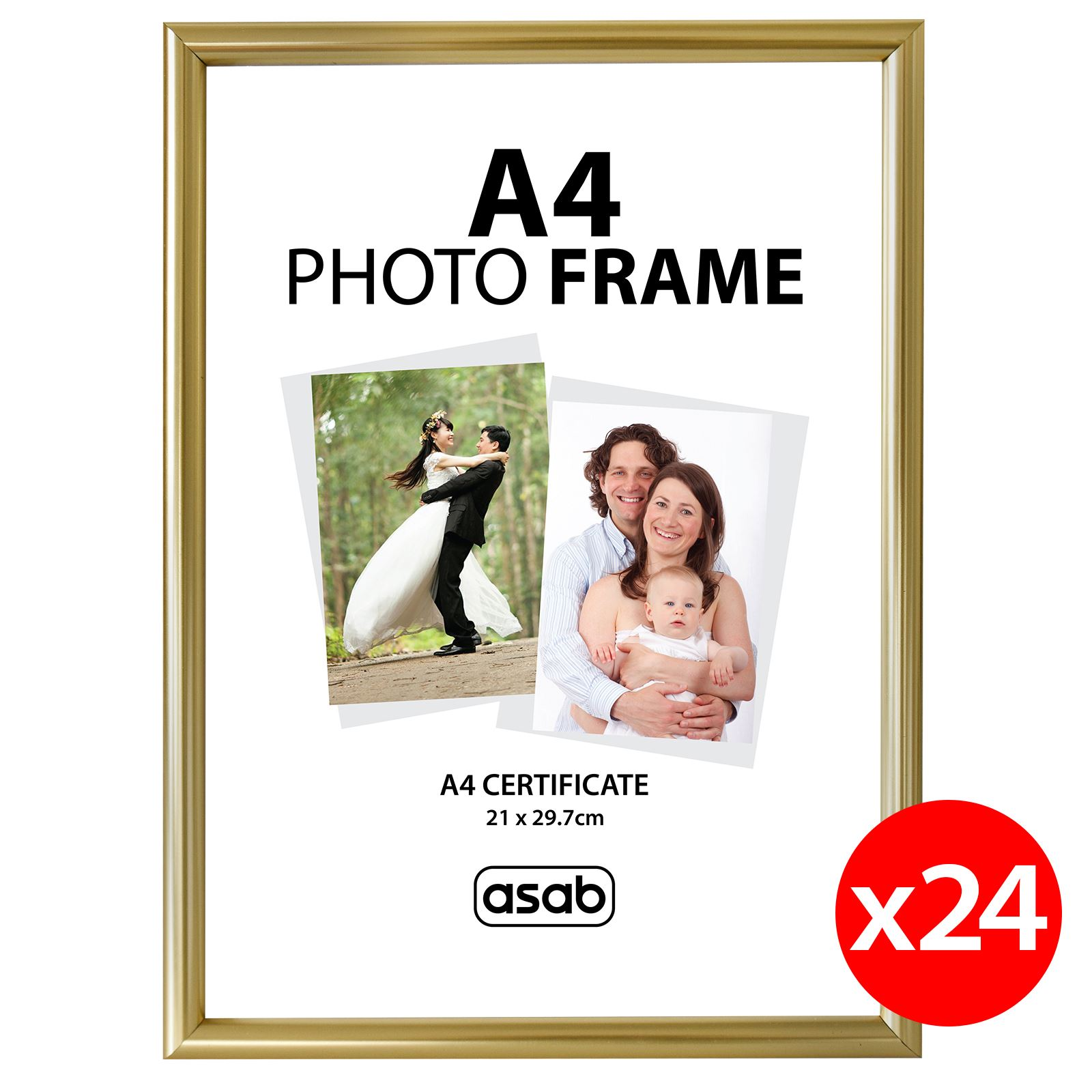 ASAB A4 Photo Picture Frame Certificate Wall & Desk Mountable Silver ...