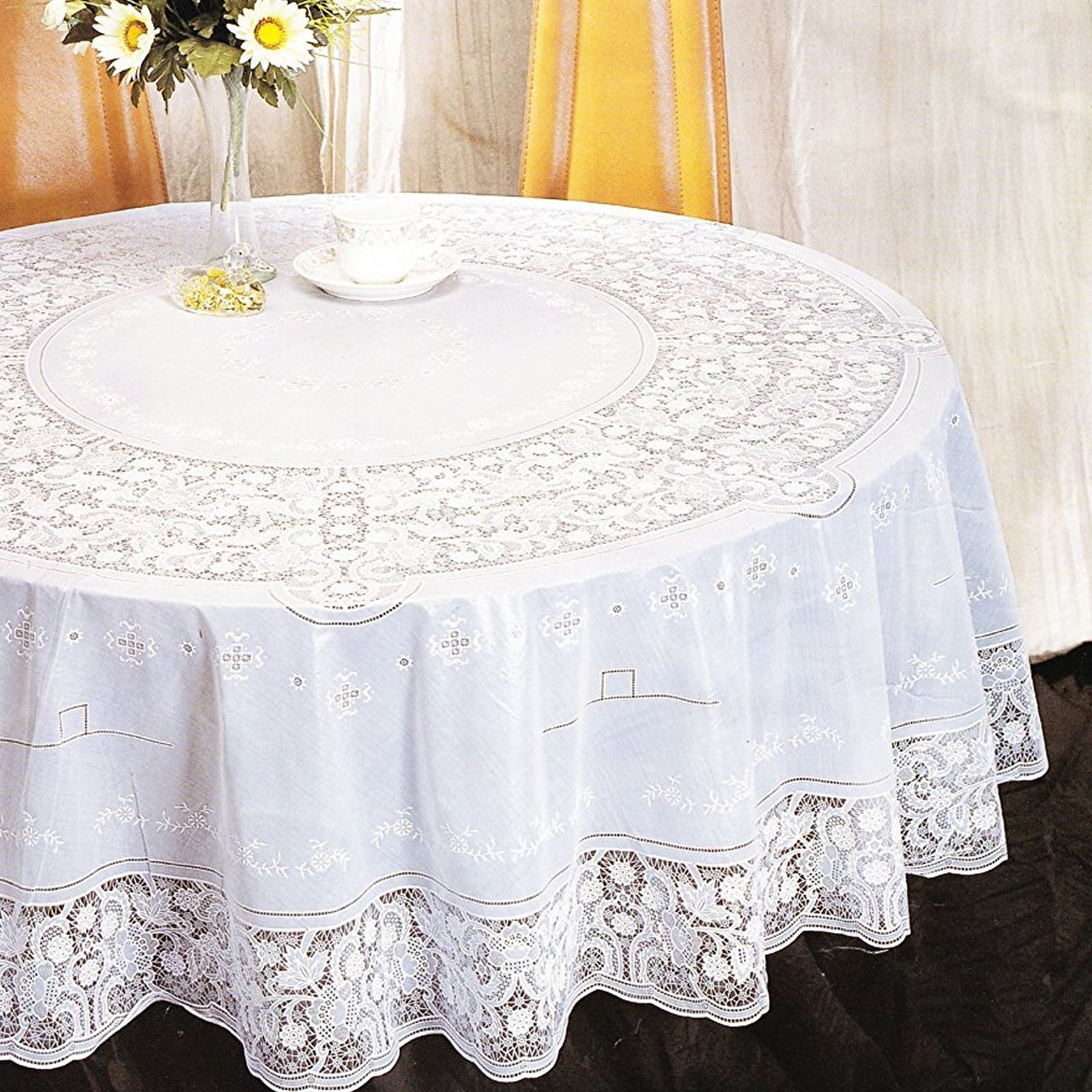Vinyl Lace Tablecloth Table Cover White Square Round Oval