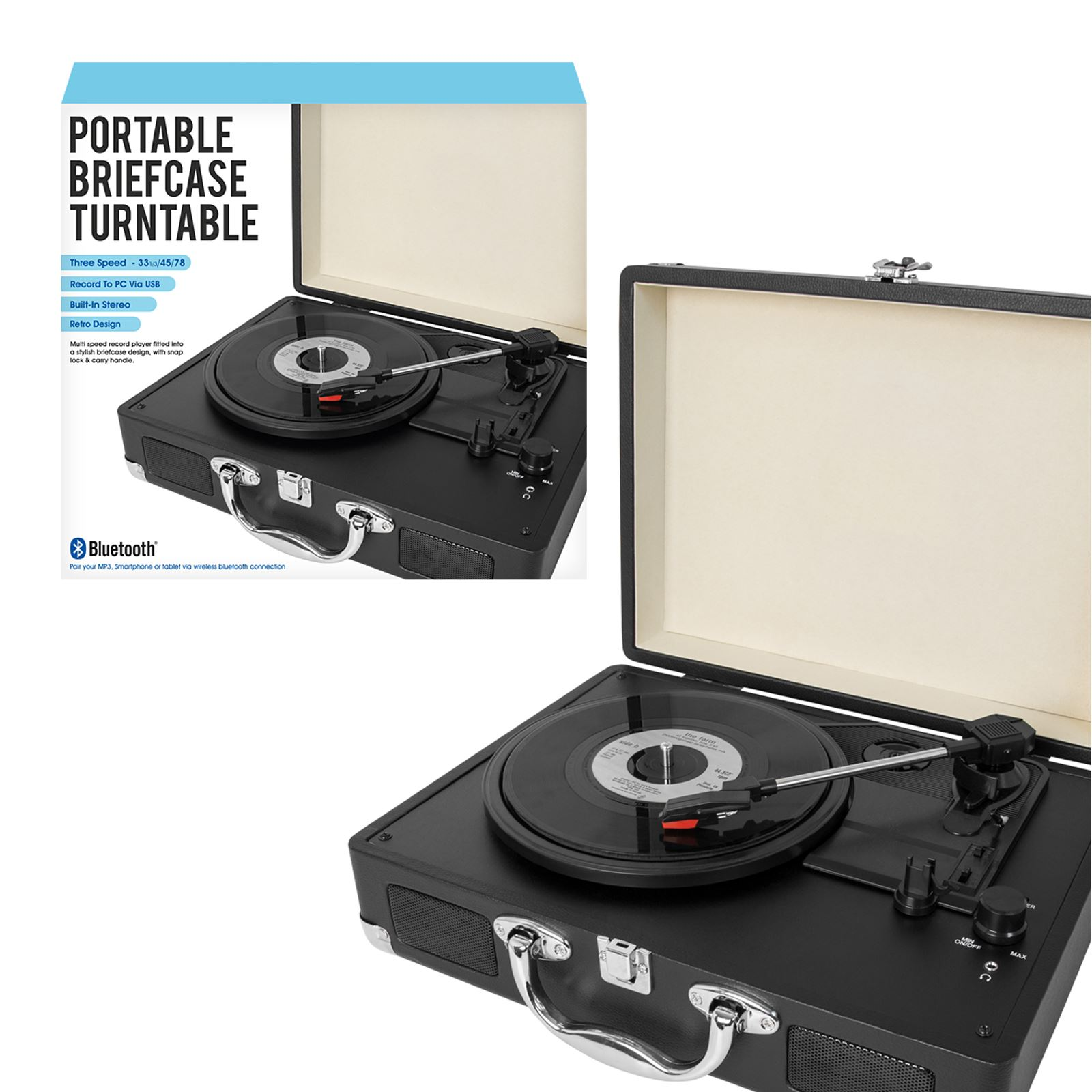 Retro Suitcase Turntable Record Player Speakers MP3 Transfer Portable Bluetooth