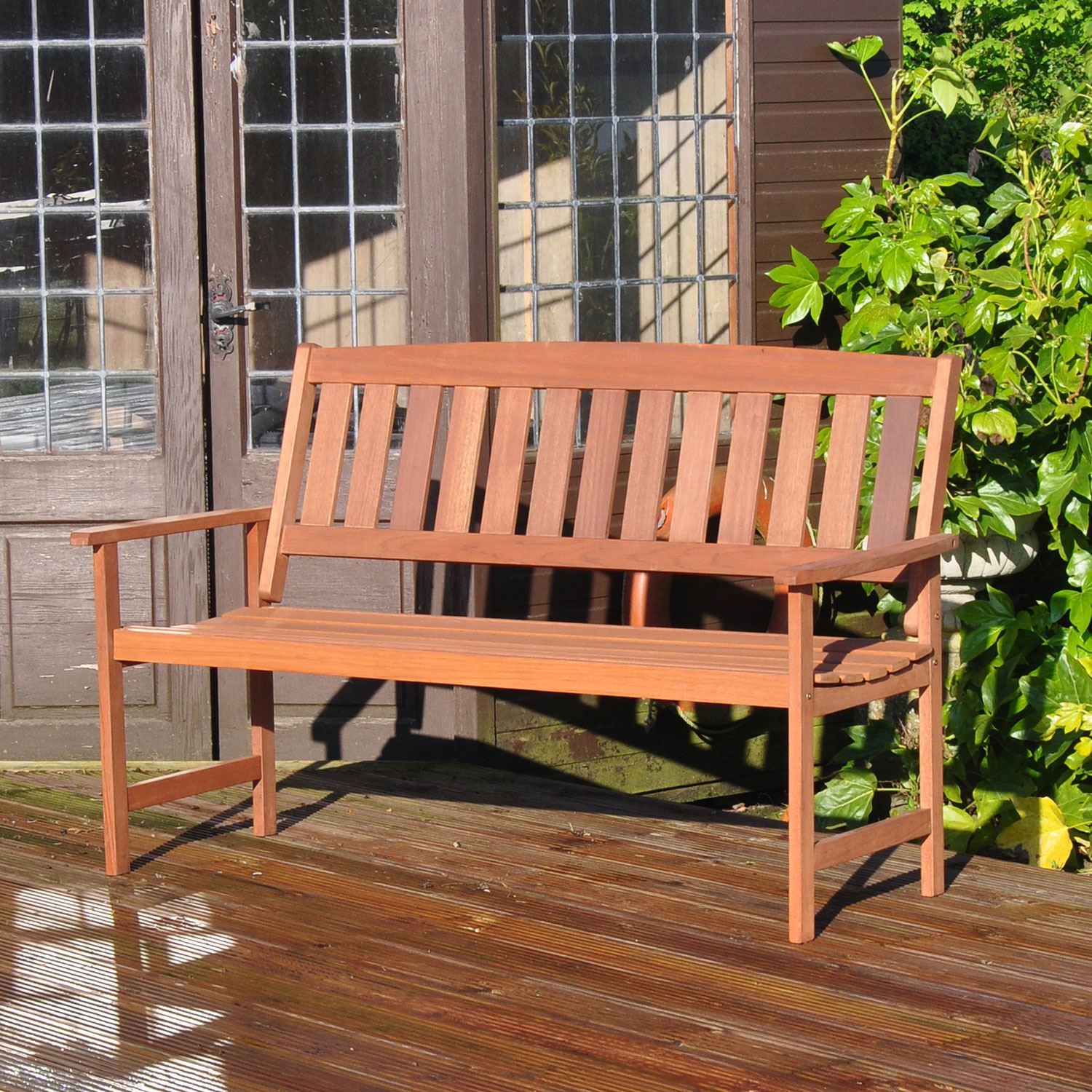 Garden-Bench-2-3-Seater-Wooden-Metal-Legs-Outdoor-Home-Patio-Furniture-Lattice thumbnail 5
