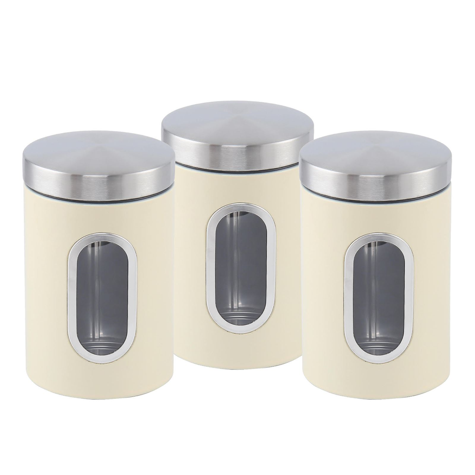 kitchen storage canisters 3pc canister set stainless steel tea sugar coffee jar lid 13810