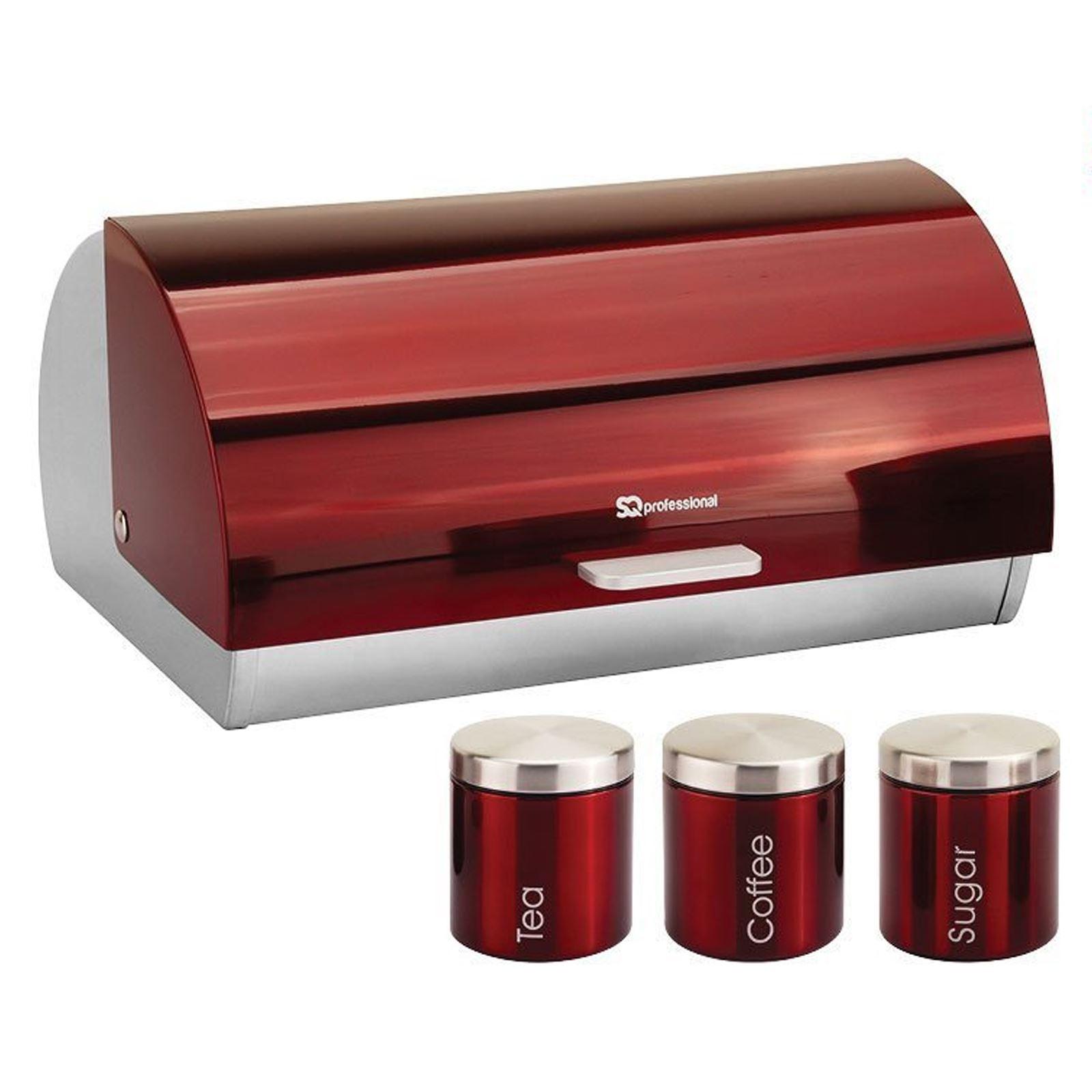 Metallic-Roll-Top-Bread-Bin-Tea-Coffee-Sugar-Jar-Canister-Sets-Kitchen-Storage thumbnail 23