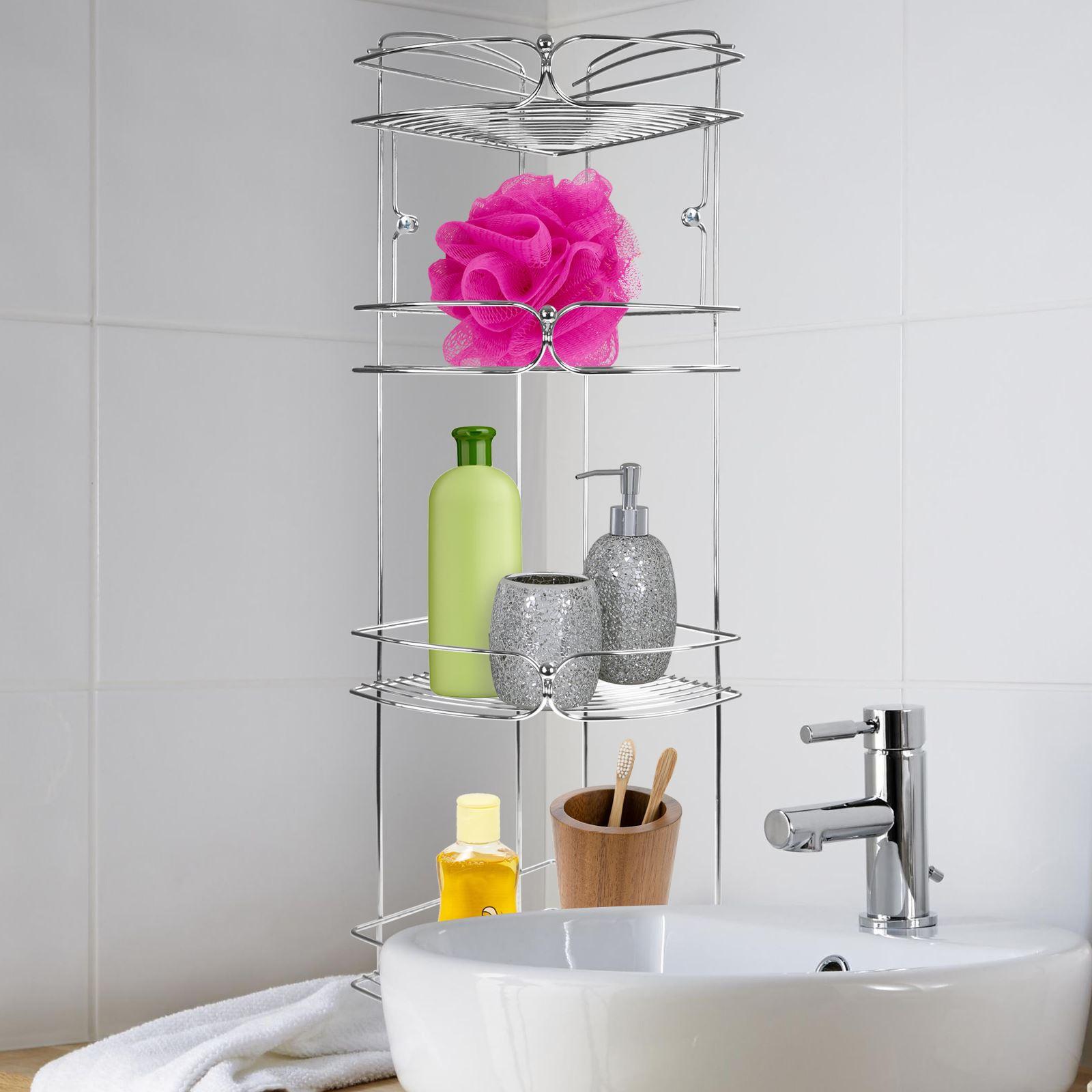 Chrome-Bathroom-Accessory-Shower-Caddy-Corner-Rack-Storage-Trolley-Roll-Holder thumbnail 9