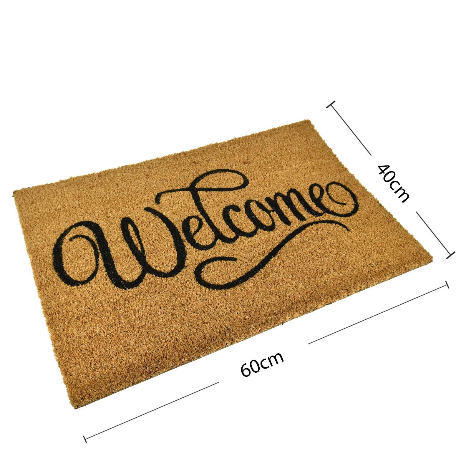 Plain-Non-Slip-Door-Mat-Tough-Natural-Coir-PVC-Back-Welcome-Doormat-40-x-60cm miniatura 112