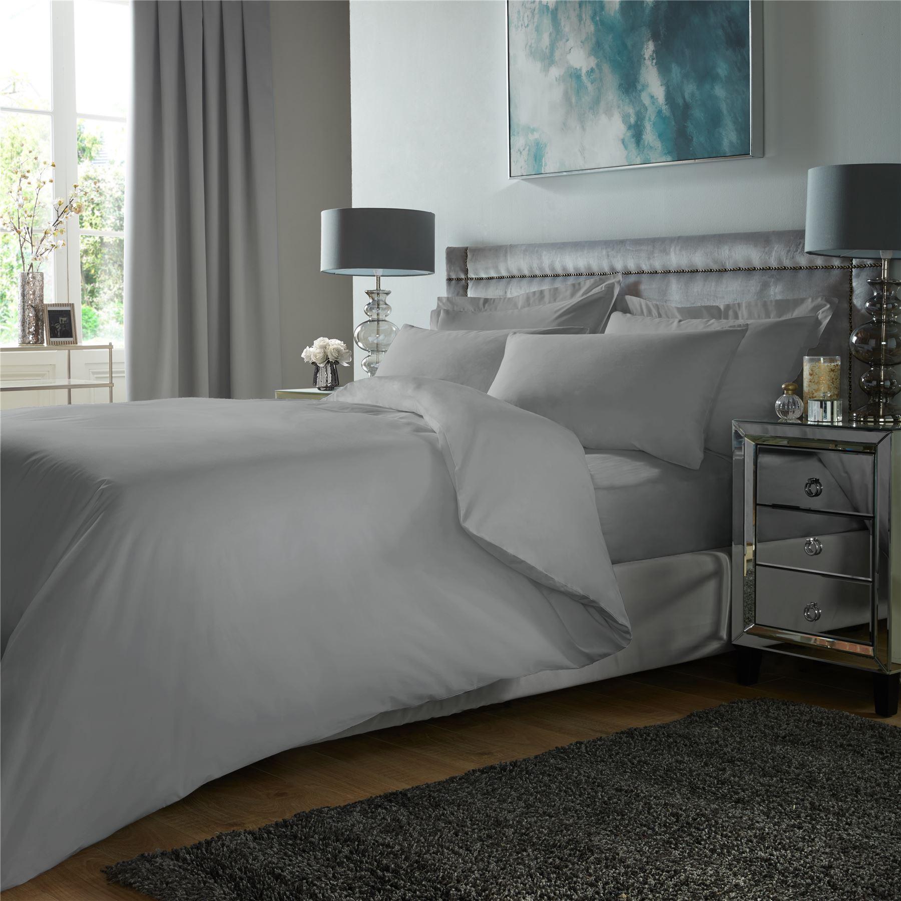 De-Lujo-400TC-conjunto-de-funda-de-edredon-100-Algodon-Egipcio-ropa-de-cama-funda-de-almohada-tenida miniatura 16