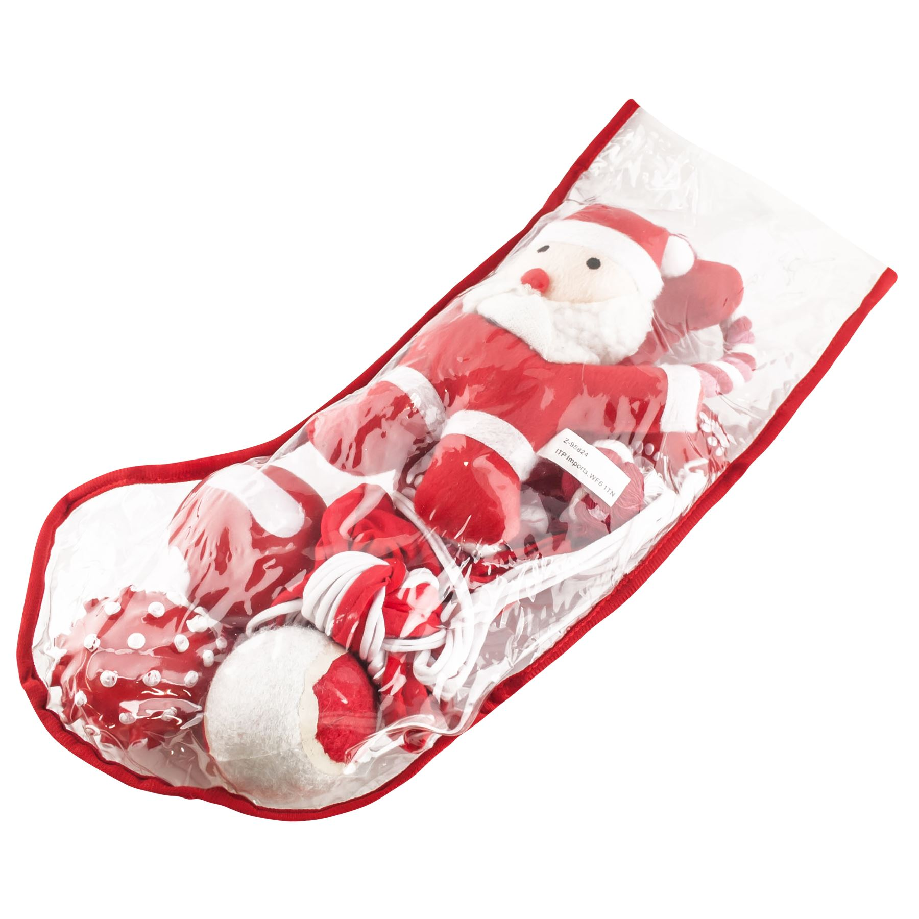filled christmas stockings pet puppy squeaky play toys santa