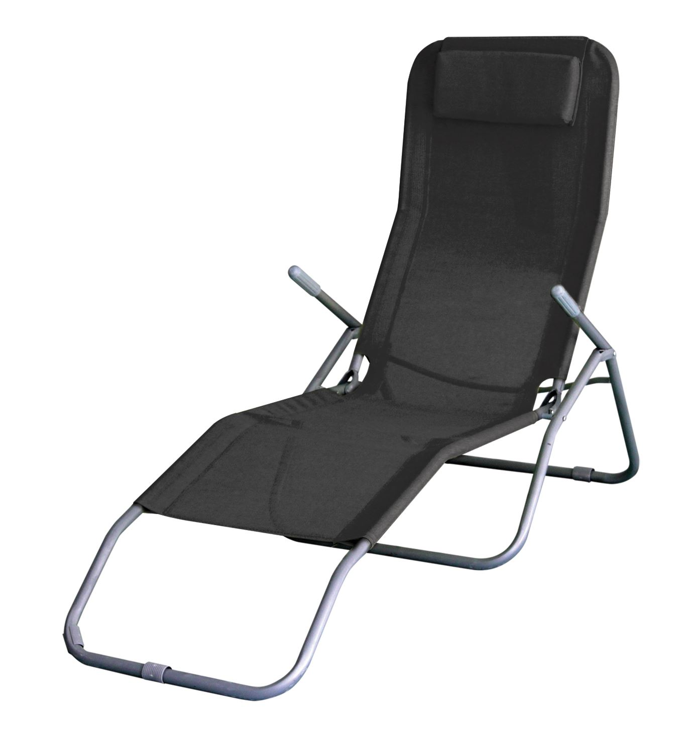 Folding Sun Lounger Recliner Chair Bed Armrest Garden Patio Deck