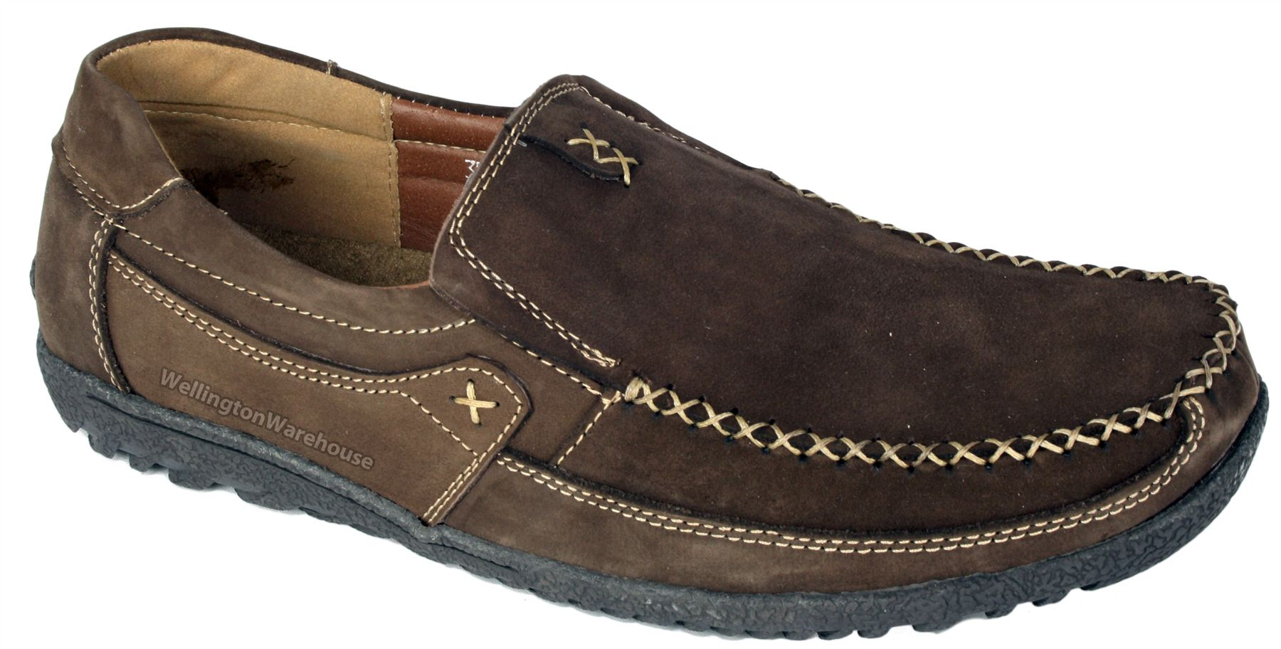 Mens Monaco tan or brown soft leather