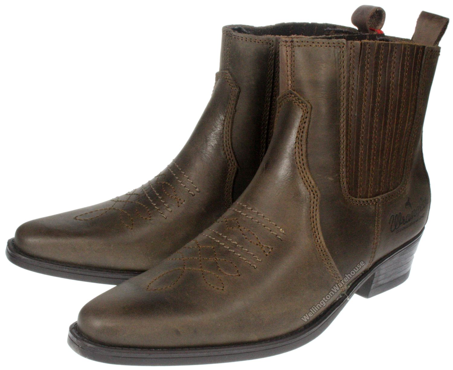 551dc14127c Details about Wrangler Tex mid black, brown leather pull on Mens cowboy  pointy toe boots